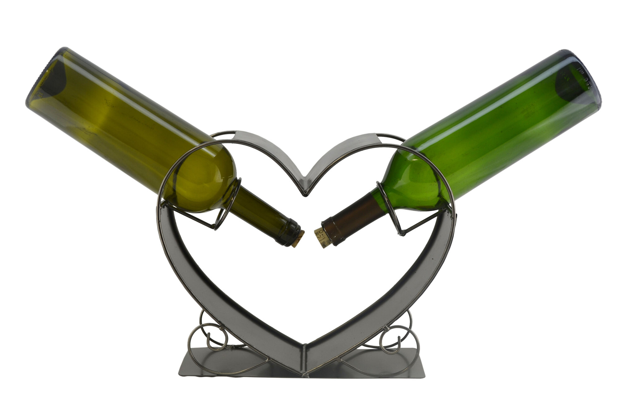 Three star im ex inc heart 2 bottle tabletop wine rack ebay - Wine rack shaped like wine bottle ...