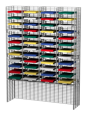 Charnstrom 48 Adjustable Pockets Wire Mail Sorter and Riser Size: 65.5
