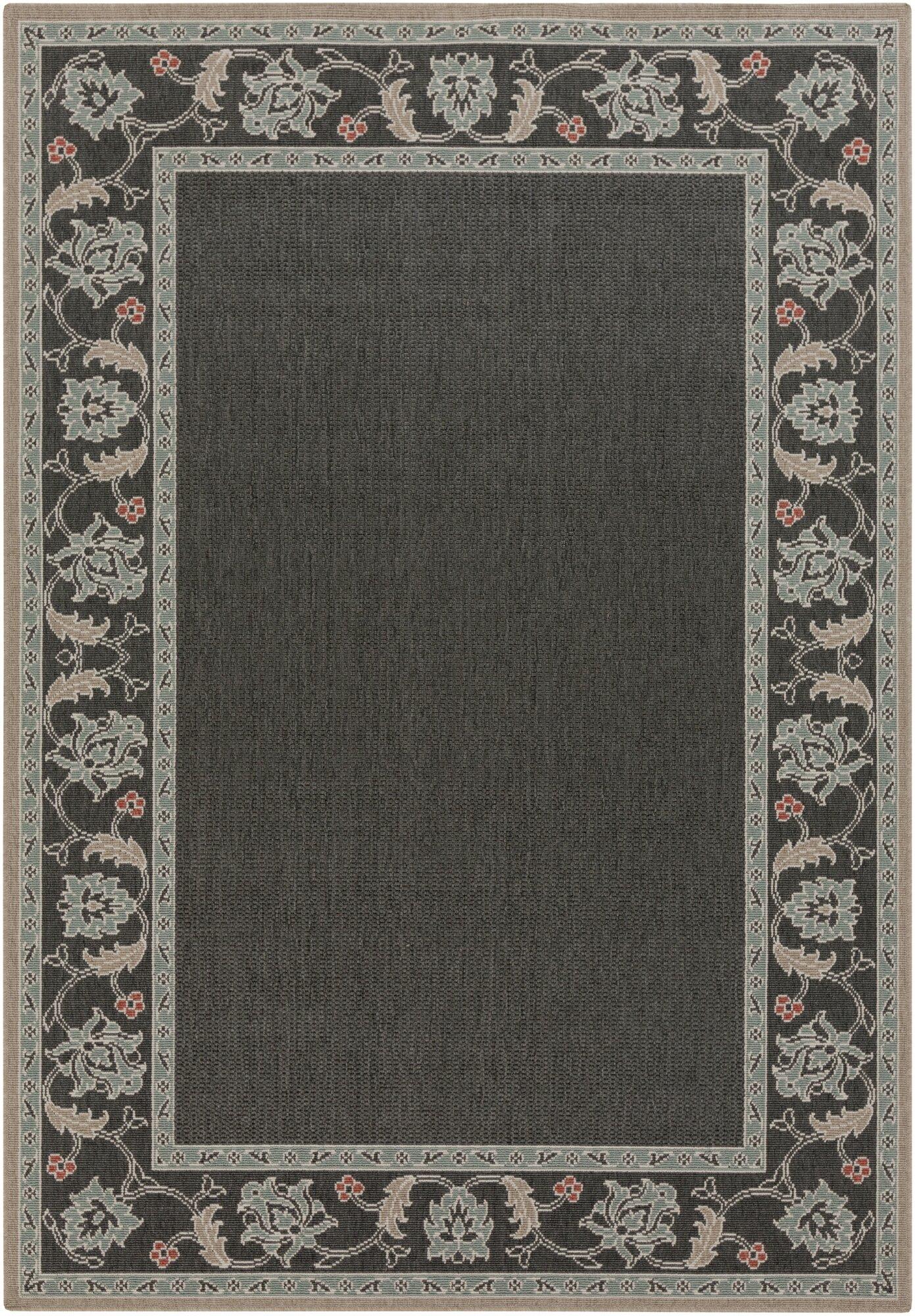 surya alfresco black gray solid area rug. Black Bedroom Furniture Sets. Home Design Ideas
