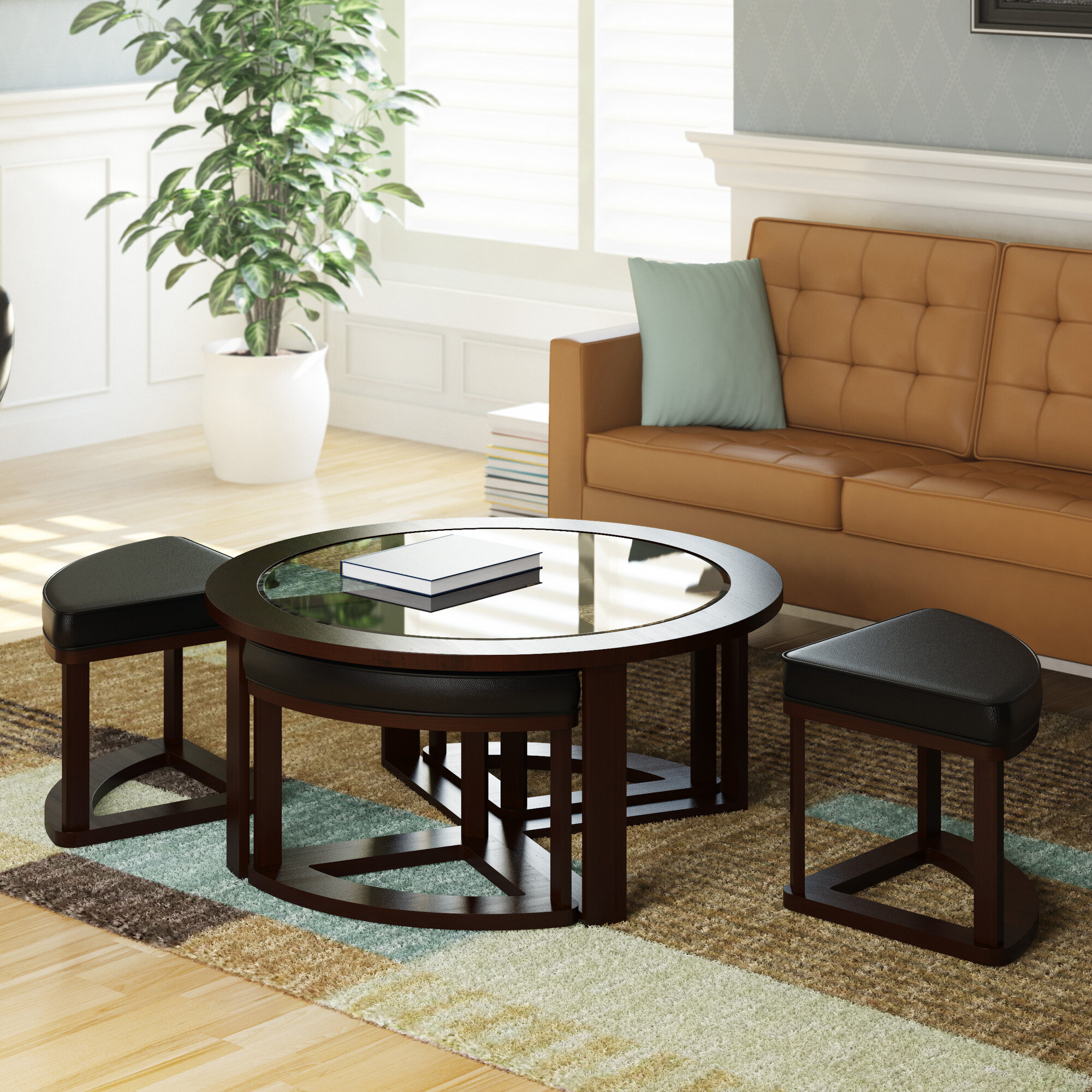 dcor design belgrove coffee table with 4 stools ebay. Black Bedroom Furniture Sets. Home Design Ideas
