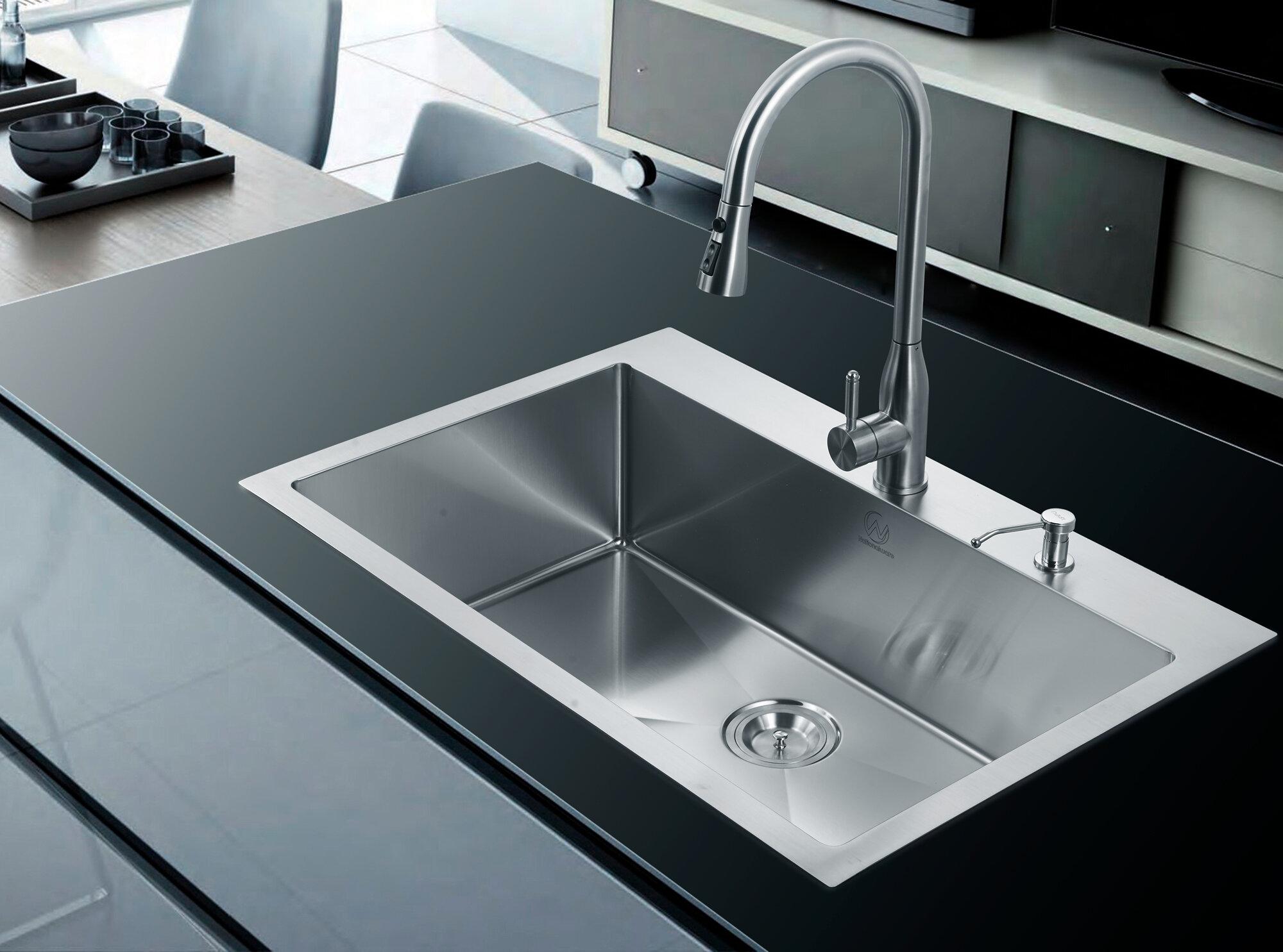 Dcor design 33 x 22 single drop in kitchen sink ebay for Designer kitchen sinks stainless steel