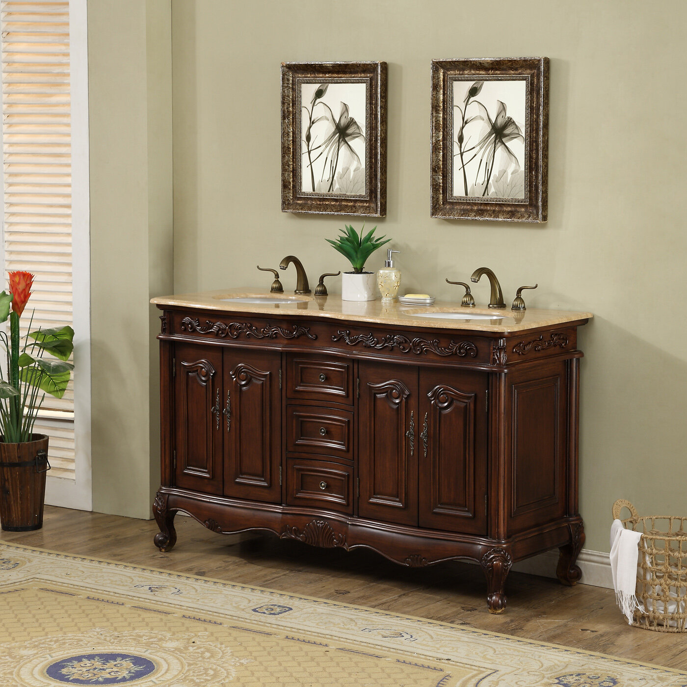 Dcor Design Saturn 60 Double Bathroom Vanity Set