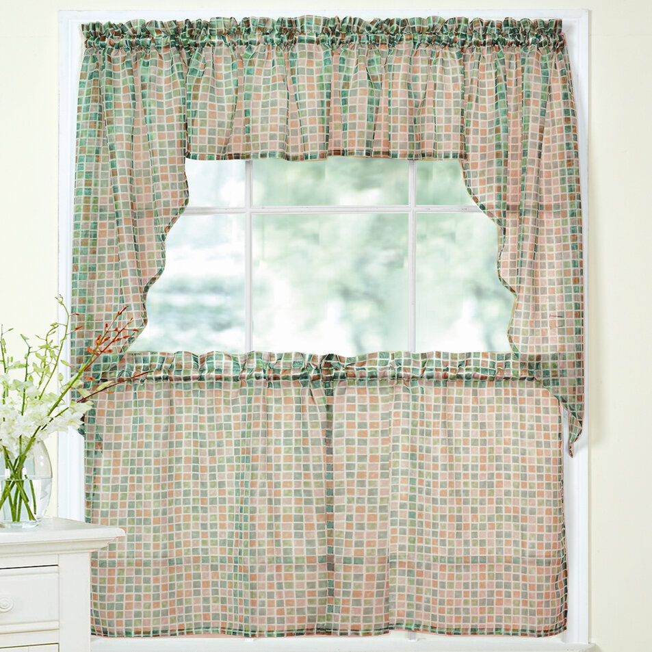 Tiles Block Sheer Kitchen Curtains Tier, Valance And Swag