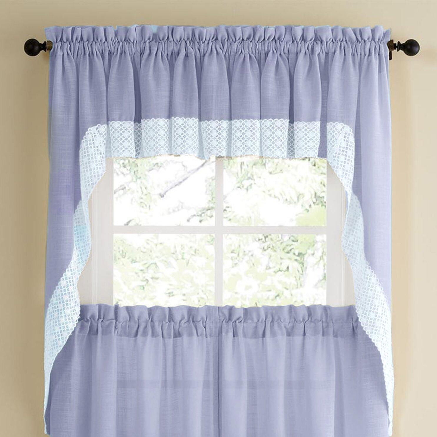 Kitchen Curtains And Valances: Sweet Home Collection Salem Kitchen Swag Curtain Valance