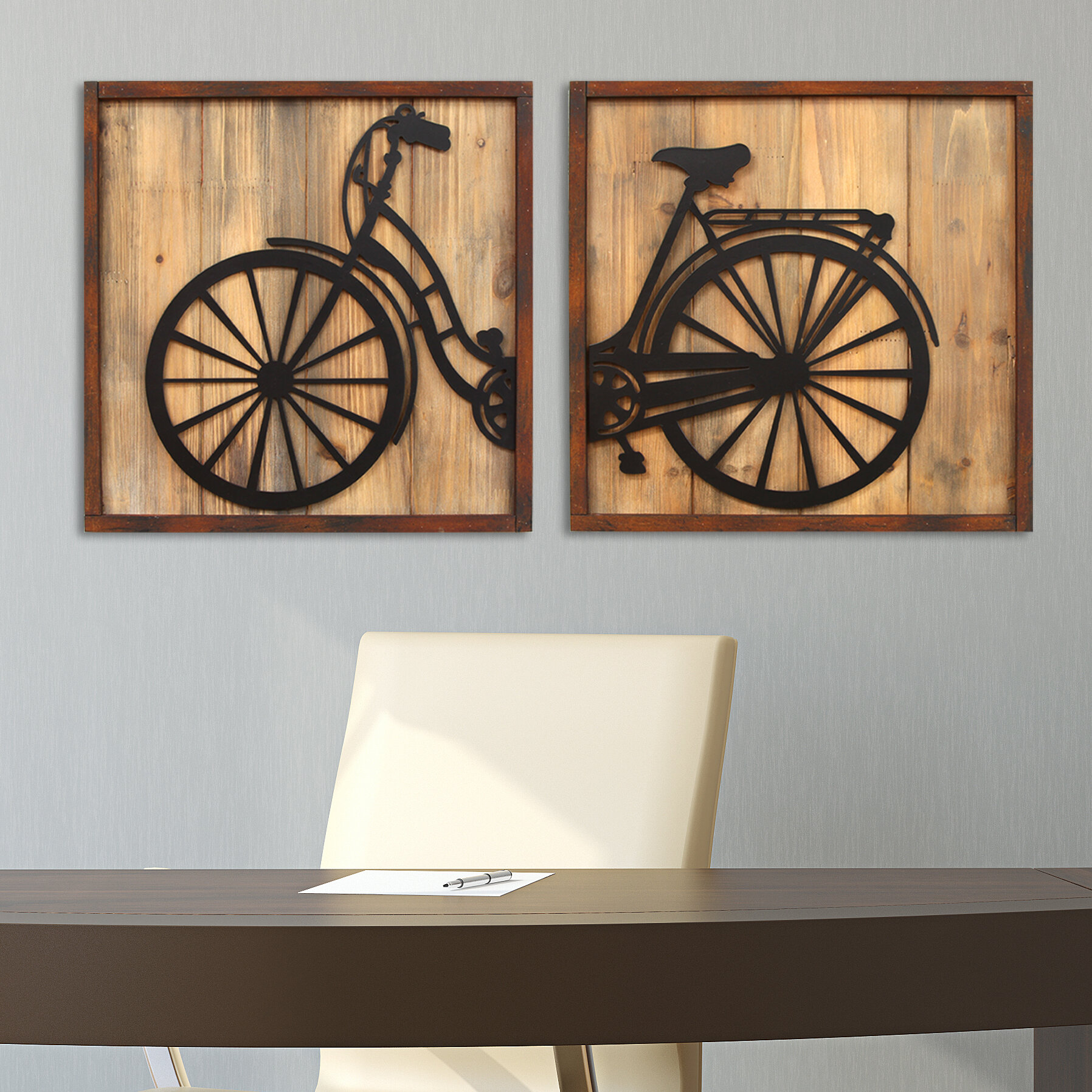 Stratton home decor 2 piece retro bicycle panels wall for Bicycle decorations home