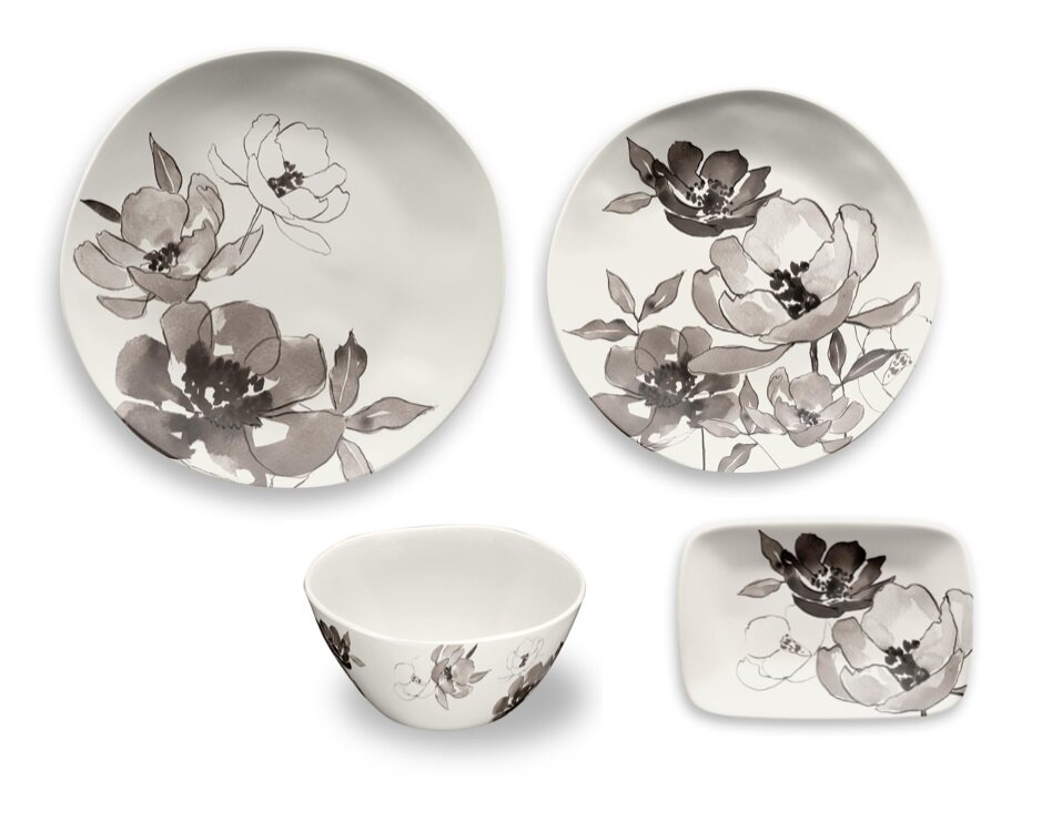 Tarhong Savannah Floral Melamine 16 Piece Dinnerware Set