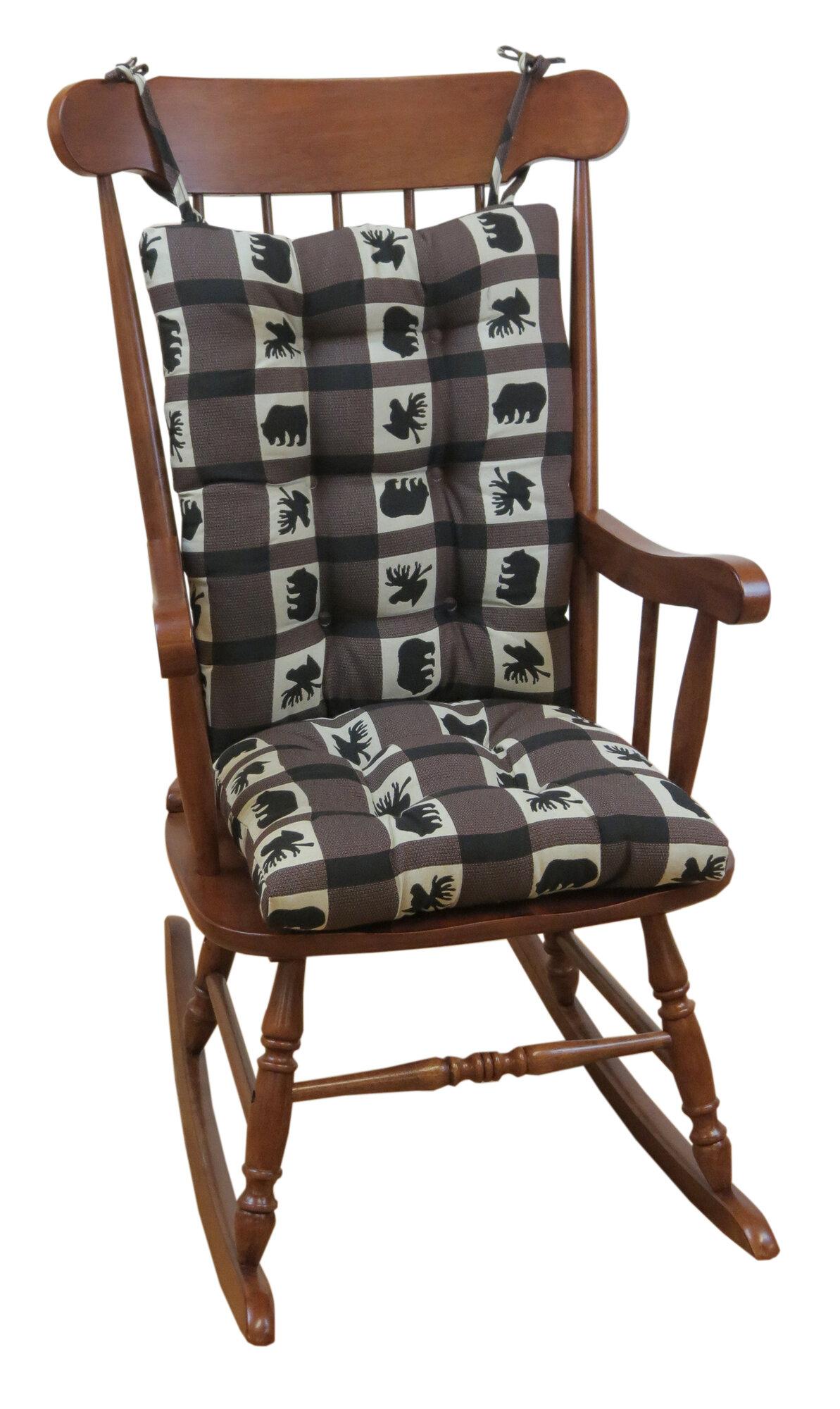 Klear Vu Lodge Animal Plaid Gripper Jumbo Rocking Chair Cushion  eBay