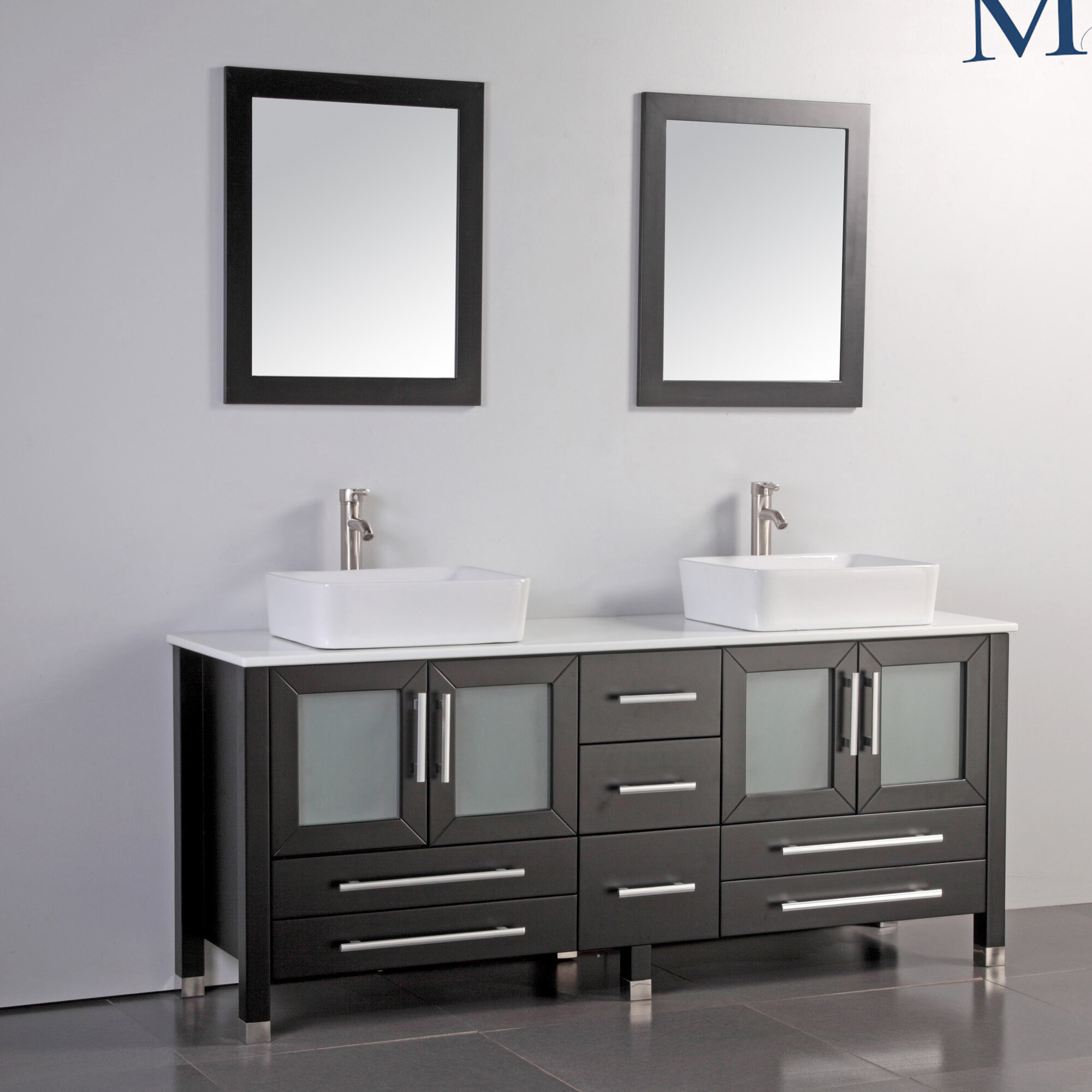 Malta 61 quot double sink bathroom vanity set with mirror espresso ebay