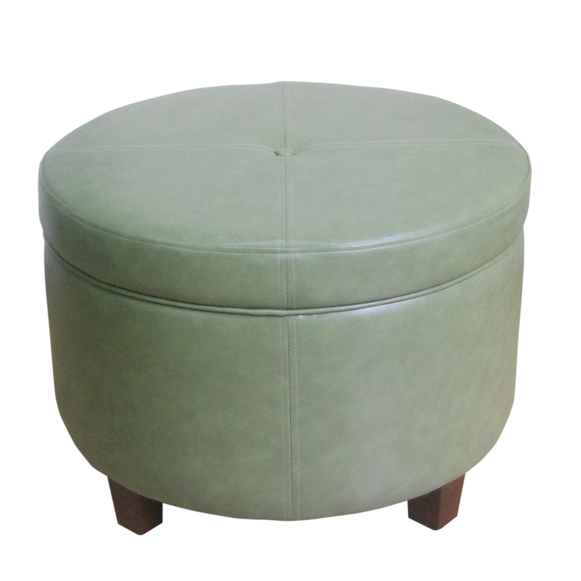 Homepop large round storage ottoman in leather ebay Round storage ottoman