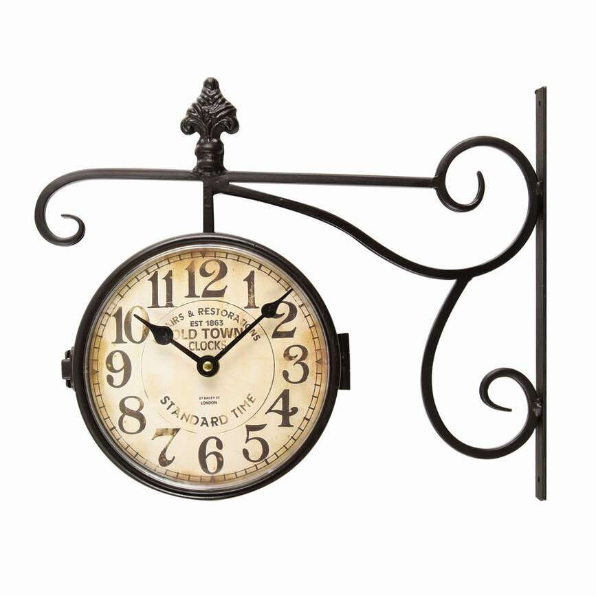 Adeco Trading Vintage Inspired Round Double Sided Wall