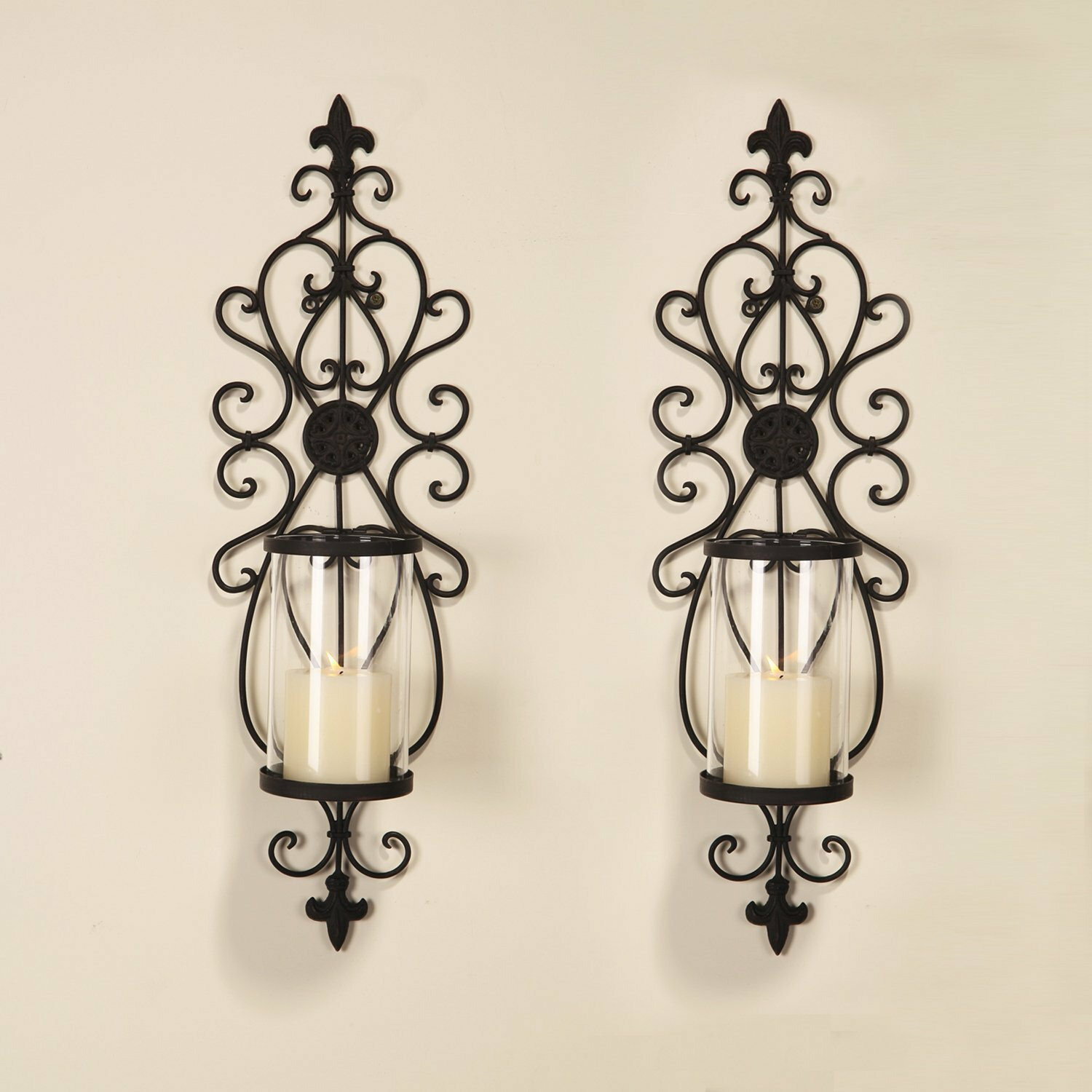 Iron Candle Holder Wall Sconce : Adeco Trading Iron Wall Sconce Candle Holder Set of 2