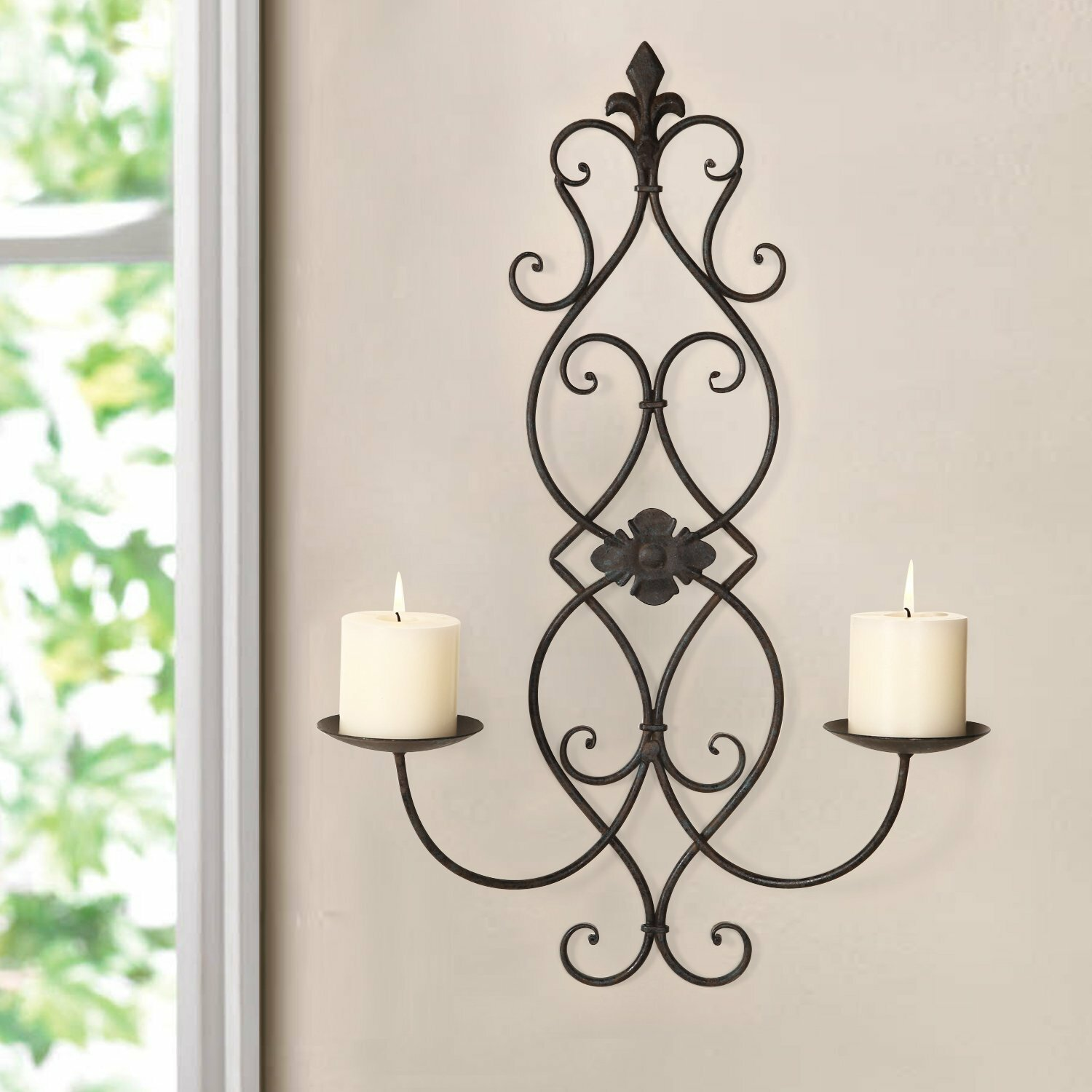 Iron Candle Holder Wall Sconce : Adeco Trading Iron Wall Sconce Candle Holder eBay