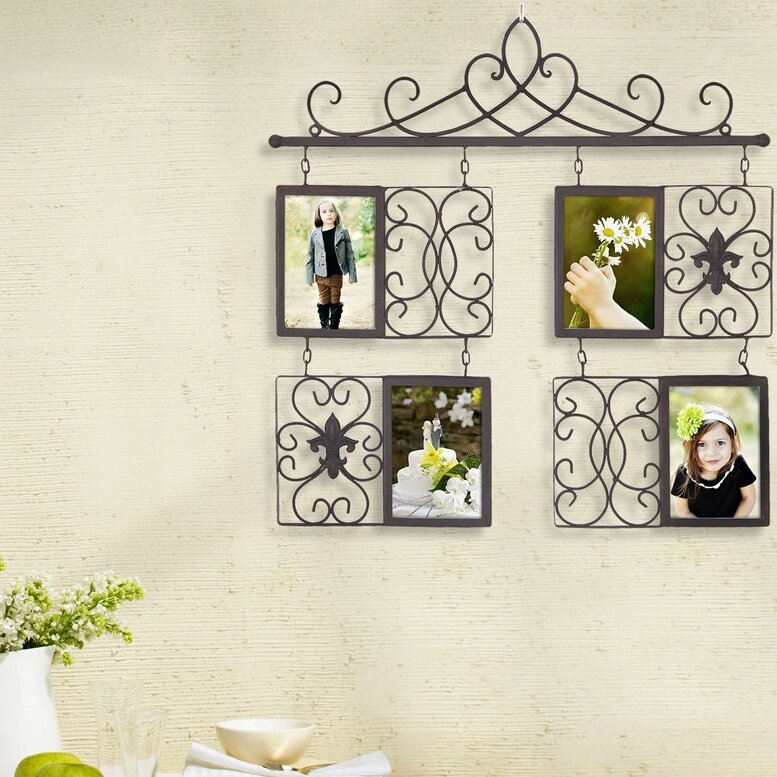 Faux Picture Frames On Walls : Opening decorative iron metal wall hanging collage