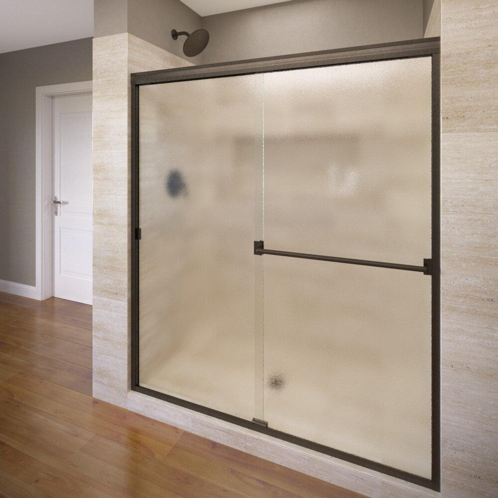 basco classic frameless bypass sliding shower door rubbed bronze clear
