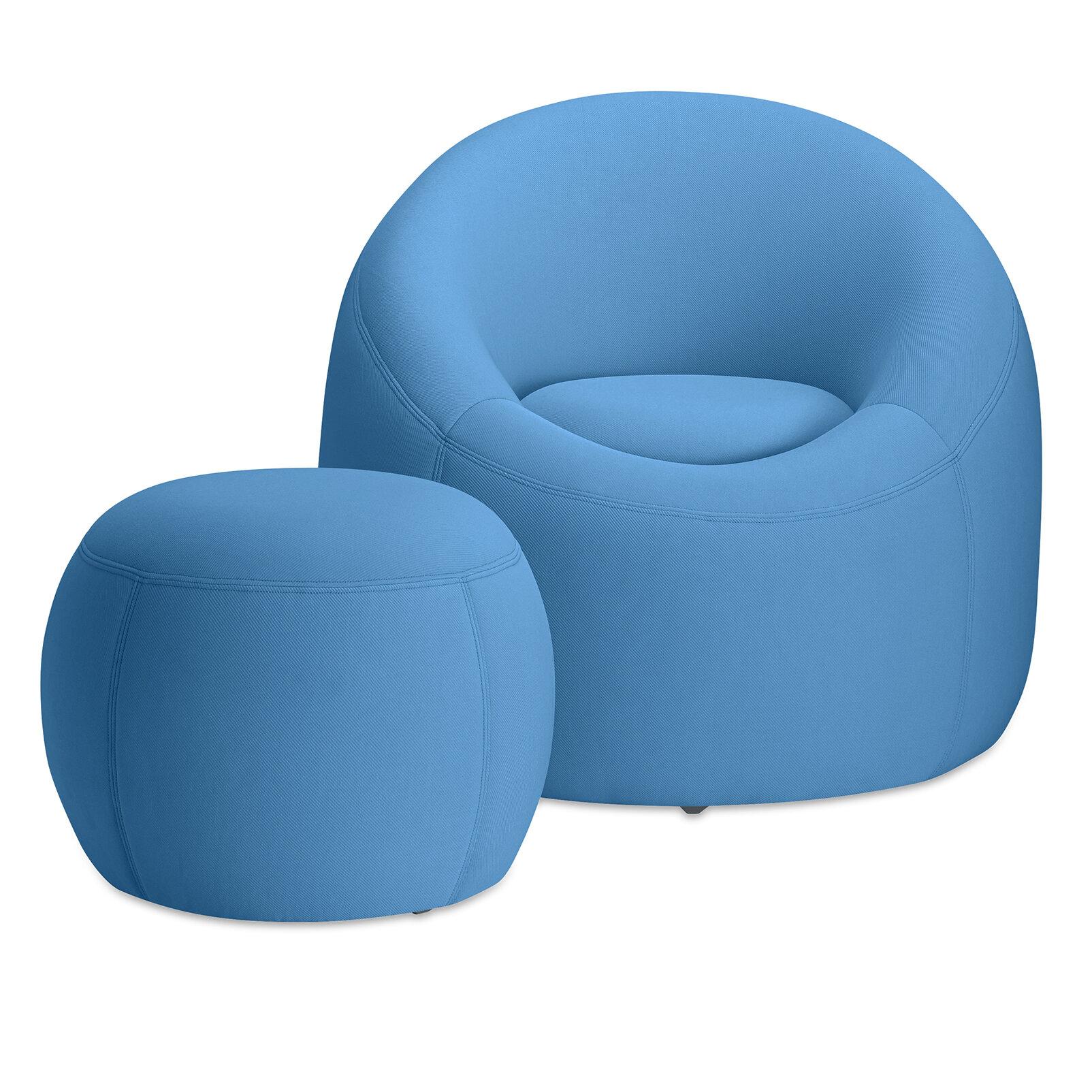Omo Modern Memory Foam Lounge Chair With Ottoman