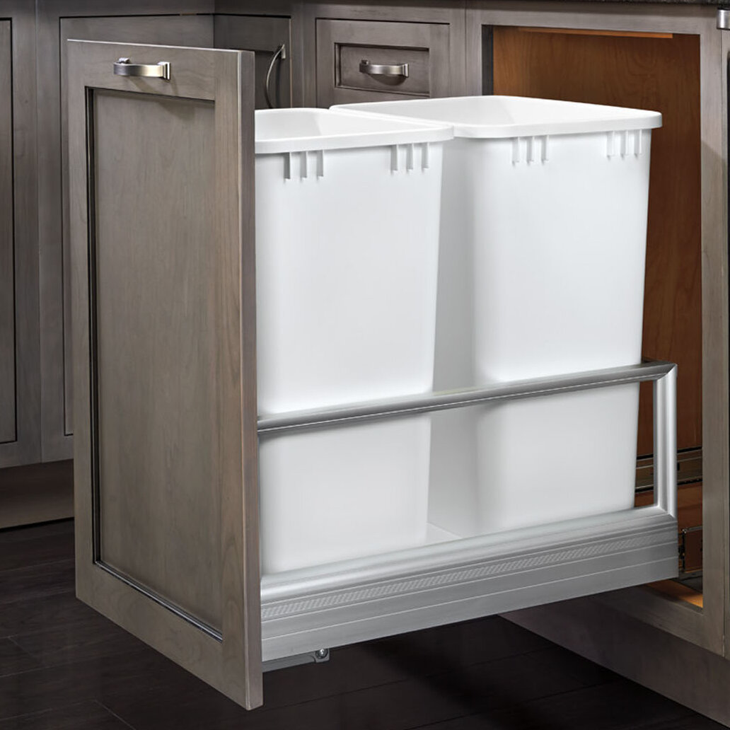 rev a shelf double pull out trash can ebay. Black Bedroom Furniture Sets. Home Design Ideas