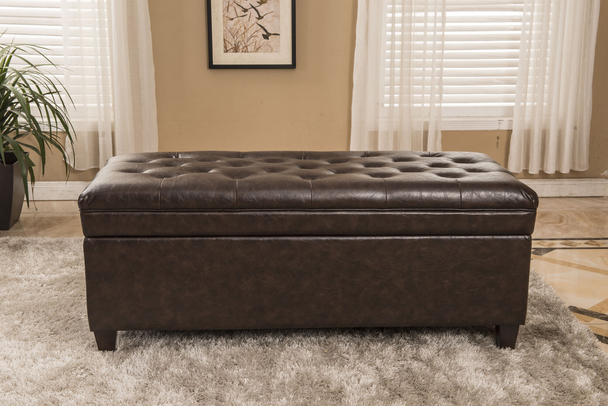 Classic Waxed Texture Dark Tufted Wood Storage Bedroom
