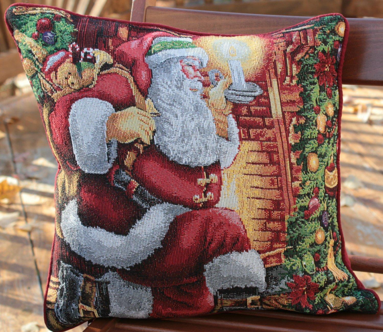 Down Throw Pillow Covers : Tache Home Fashion Down the Chimney Santa Claus Throw Pillow Cushion Cover eBay