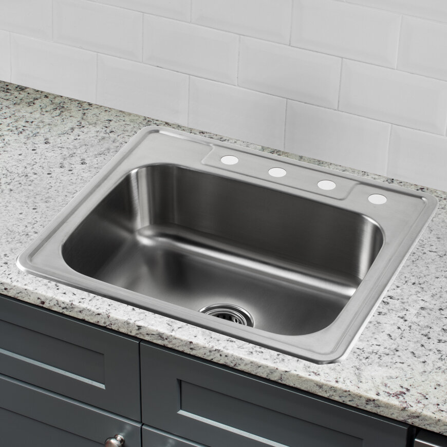 25 stainless steel kitchen sink soleil 25 quot x 22 quot stainless steel drop in single bowl 7308