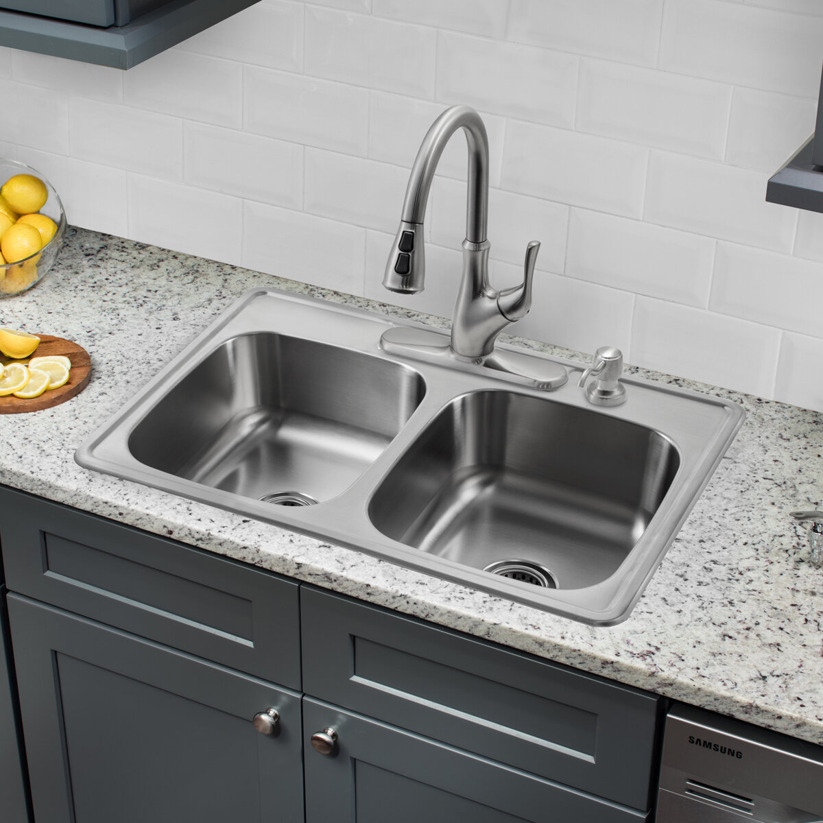 soleil 33 x 22 double bowl drop in stainless steel kitchen sink with faucet ebay. Black Bedroom Furniture Sets. Home Design Ideas
