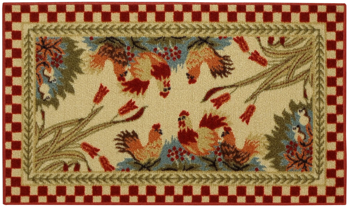 rugnur cucina rooster checkered cream red kitchen area rug ebay
