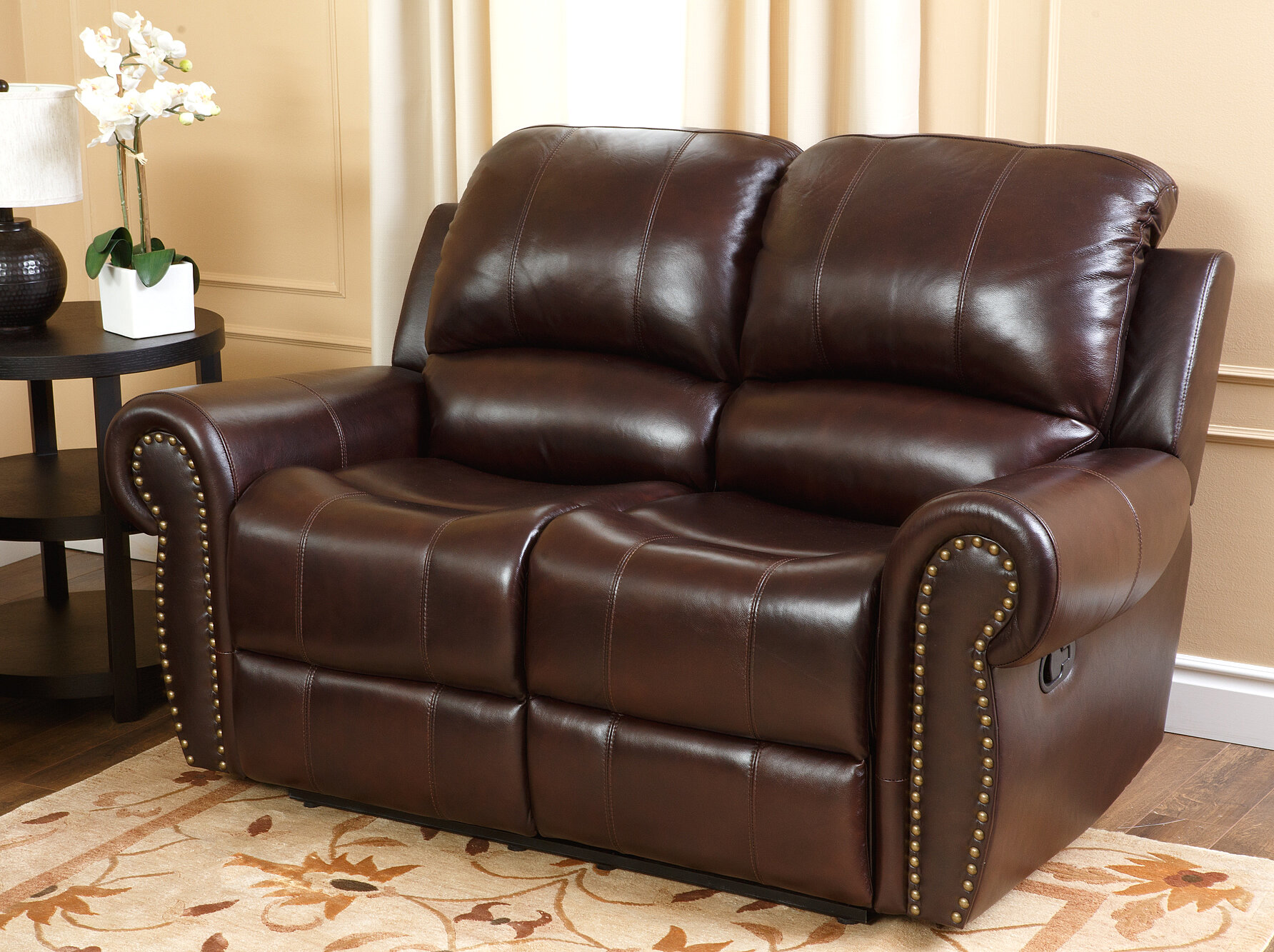 Barnsdale Reclining Italian Leather Sofa And Loveseat Set In Two Tone Burgundy