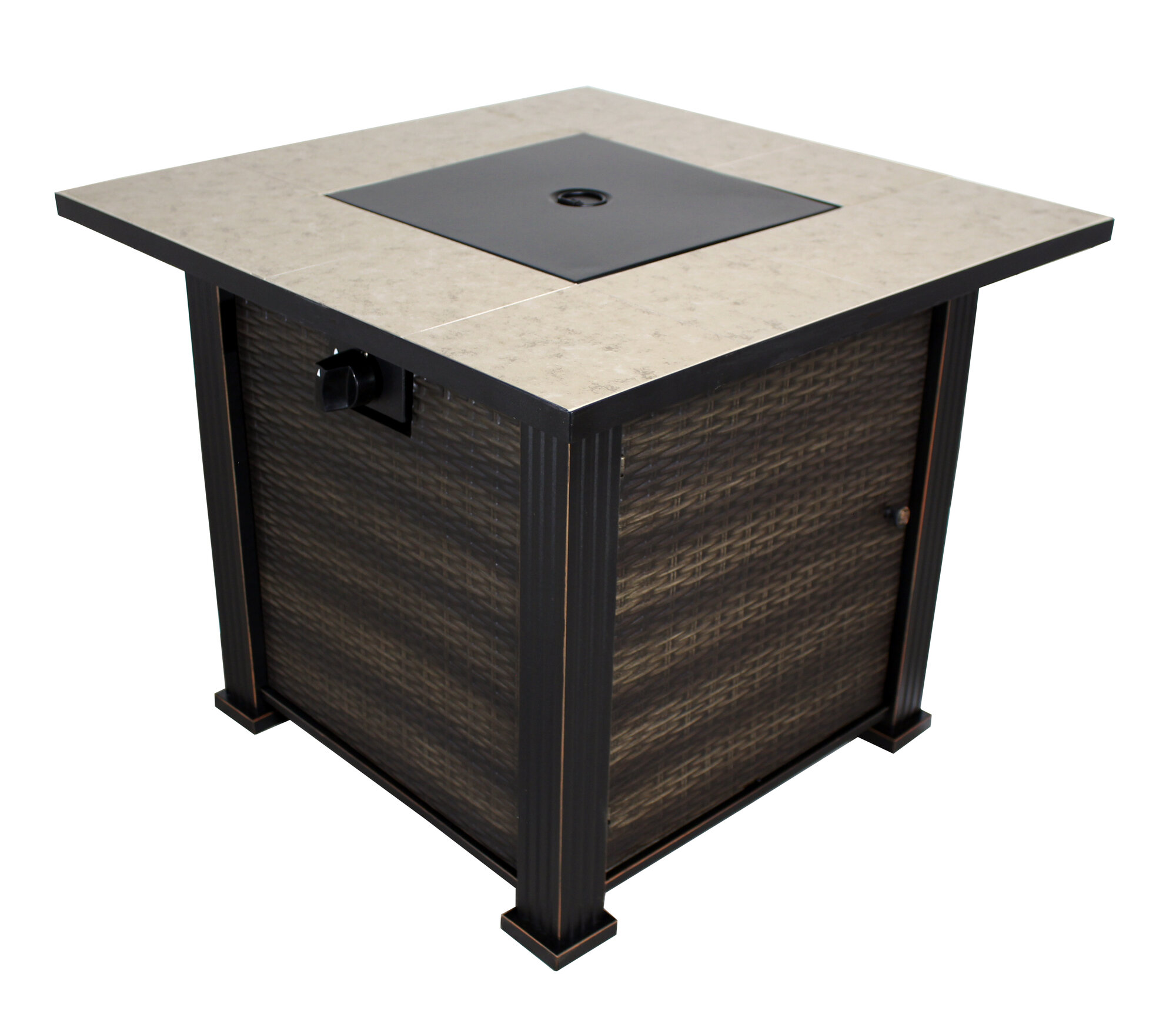 California Outdoor Designs New Haven Porcelain Steel Propane Fire Pit Table