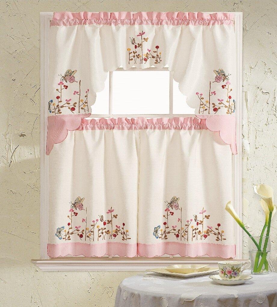 Daniels Bath Pink Butterfly 3 Piece Kitchen Curtain Set