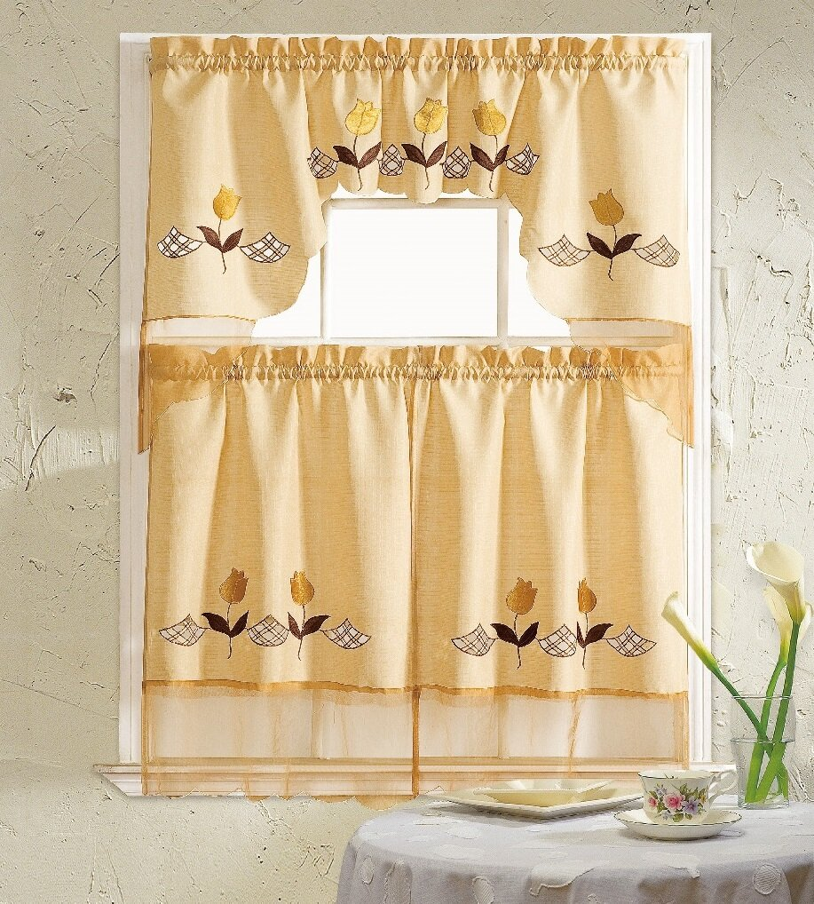 Daniels Bath Lily 3 Piece Kitchen Curtain Set