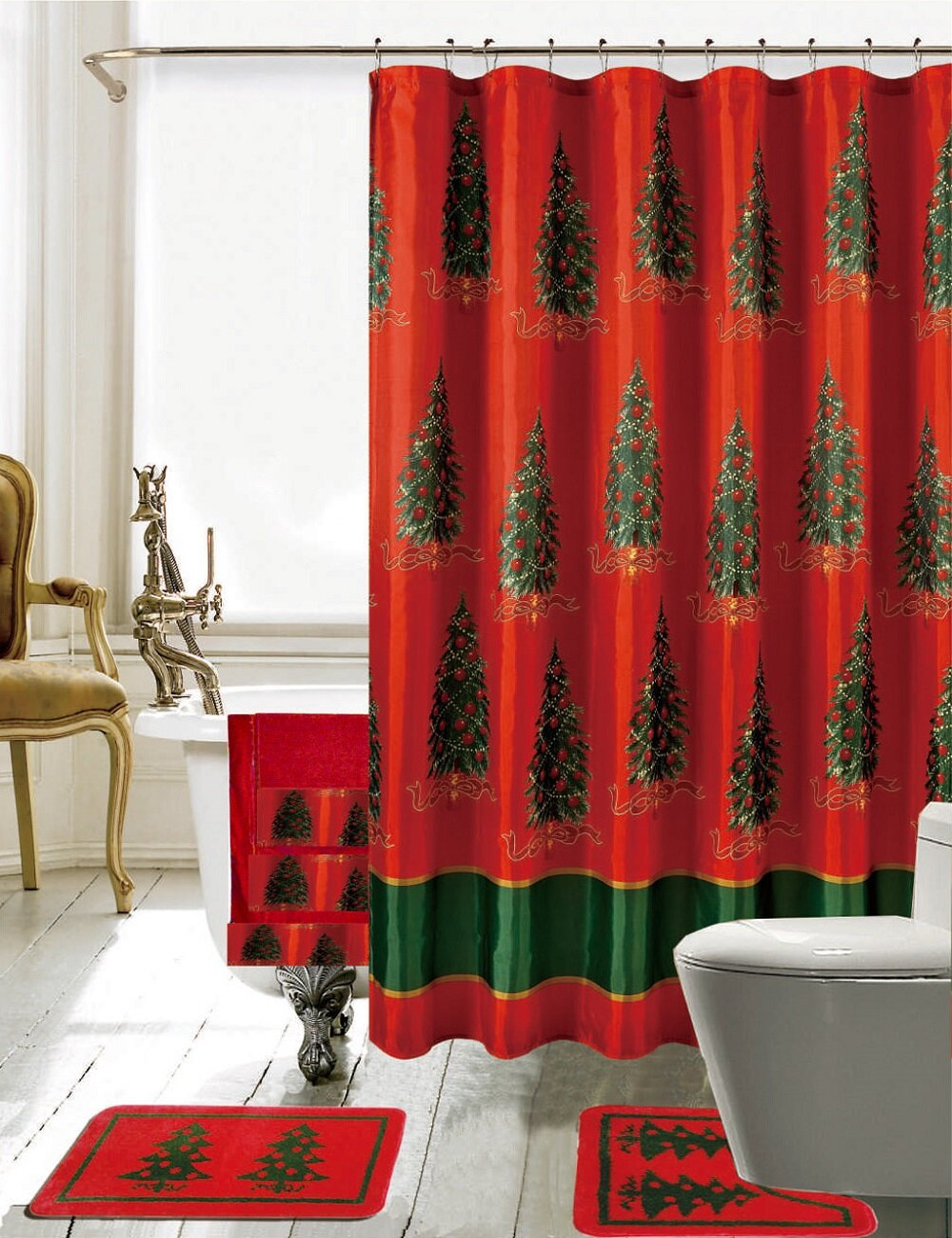 daniels bath christmas bathroom decor 18 piece shower curtain set ebay. Black Bedroom Furniture Sets. Home Design Ideas
