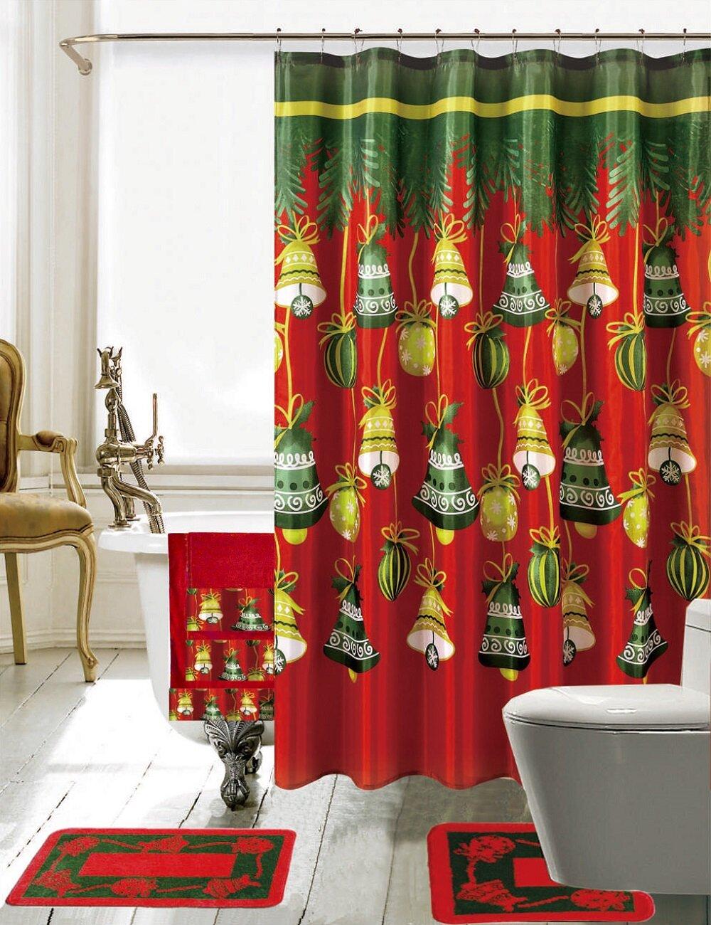 bath christmas bathroom decor 18 piece shower curtain set ebay