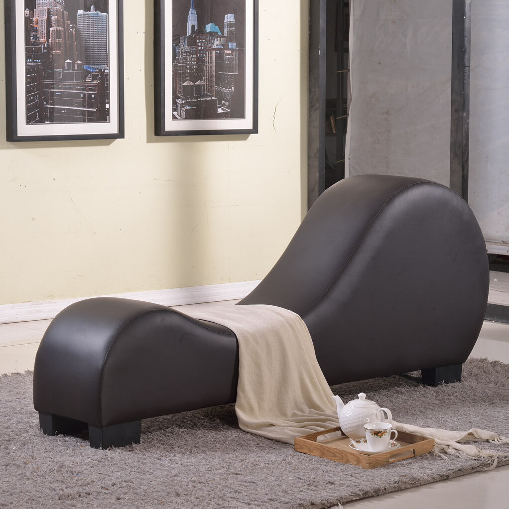 Container faux leather stretch chaise yoga chair ebay for Chaise yoga