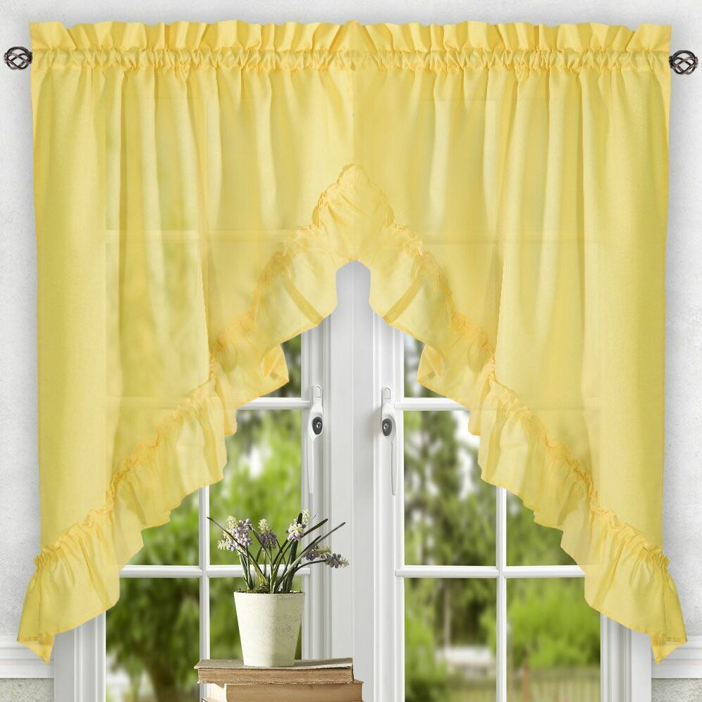 "August Grove Casarina 60"" Ruffled Swag Curtain Valance"