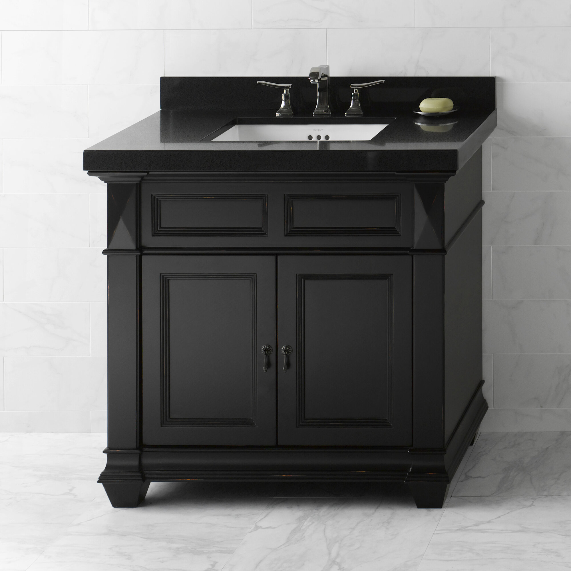 Ronbow torino 36 bathroom vanity cabinet base in antique black ebay - Bathroom vanity cabinet base only ...