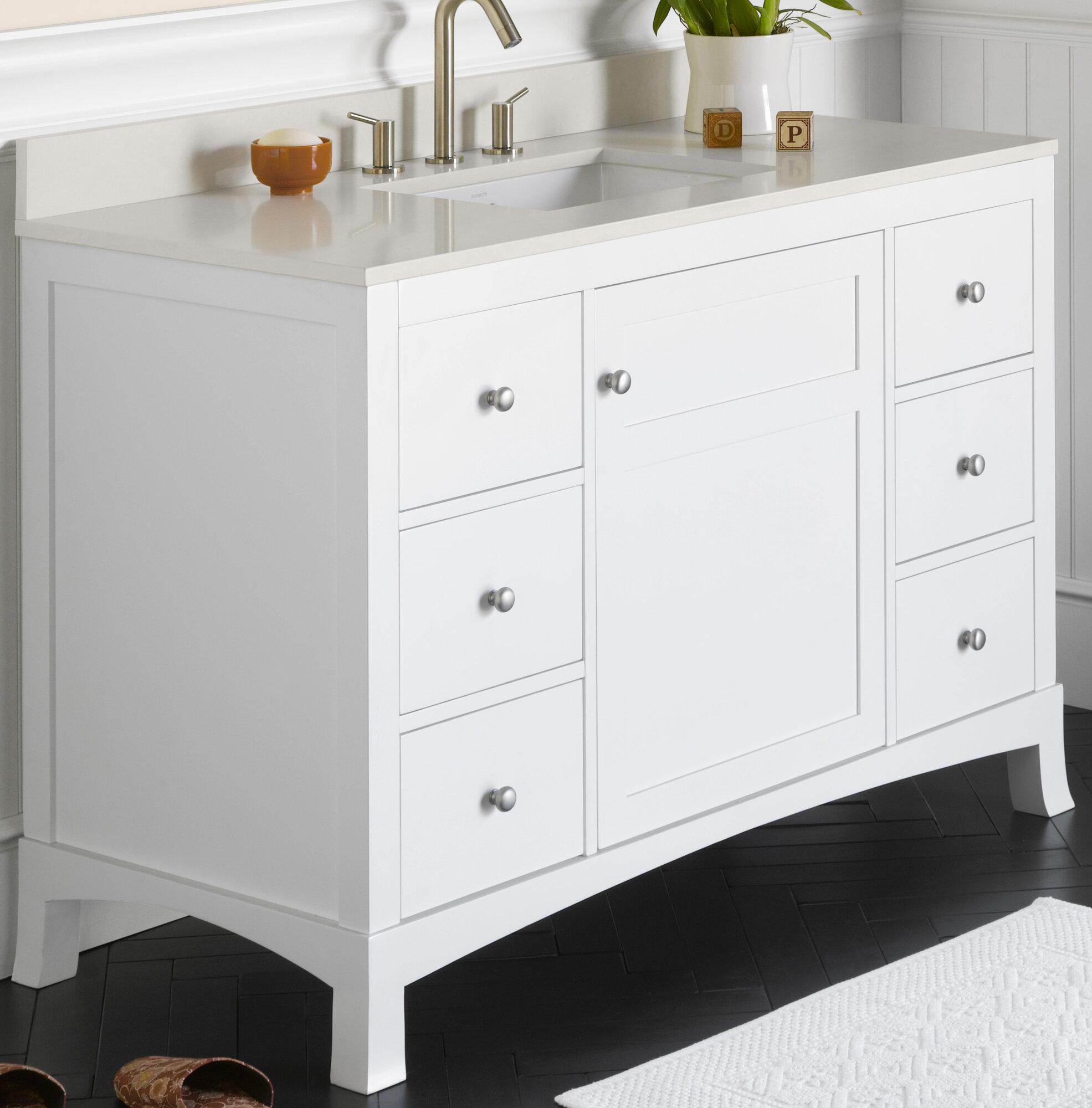 Ronbow hampton 48 bathroom vanity cabinet base in white for 48 inch bathroom vanity base