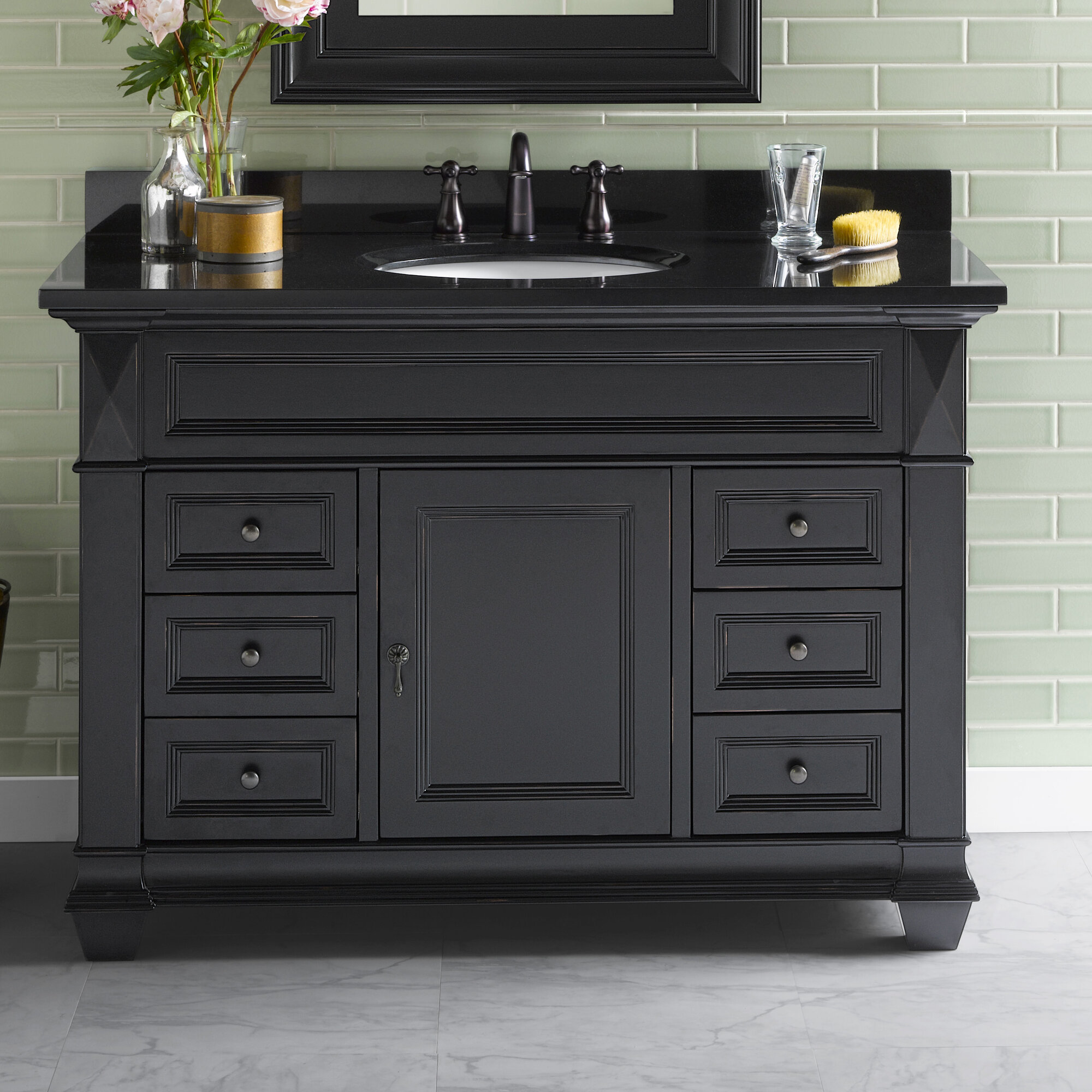 Ronbow Torino 48 Quot Bathroom Vanity Cabinet Base In Antique