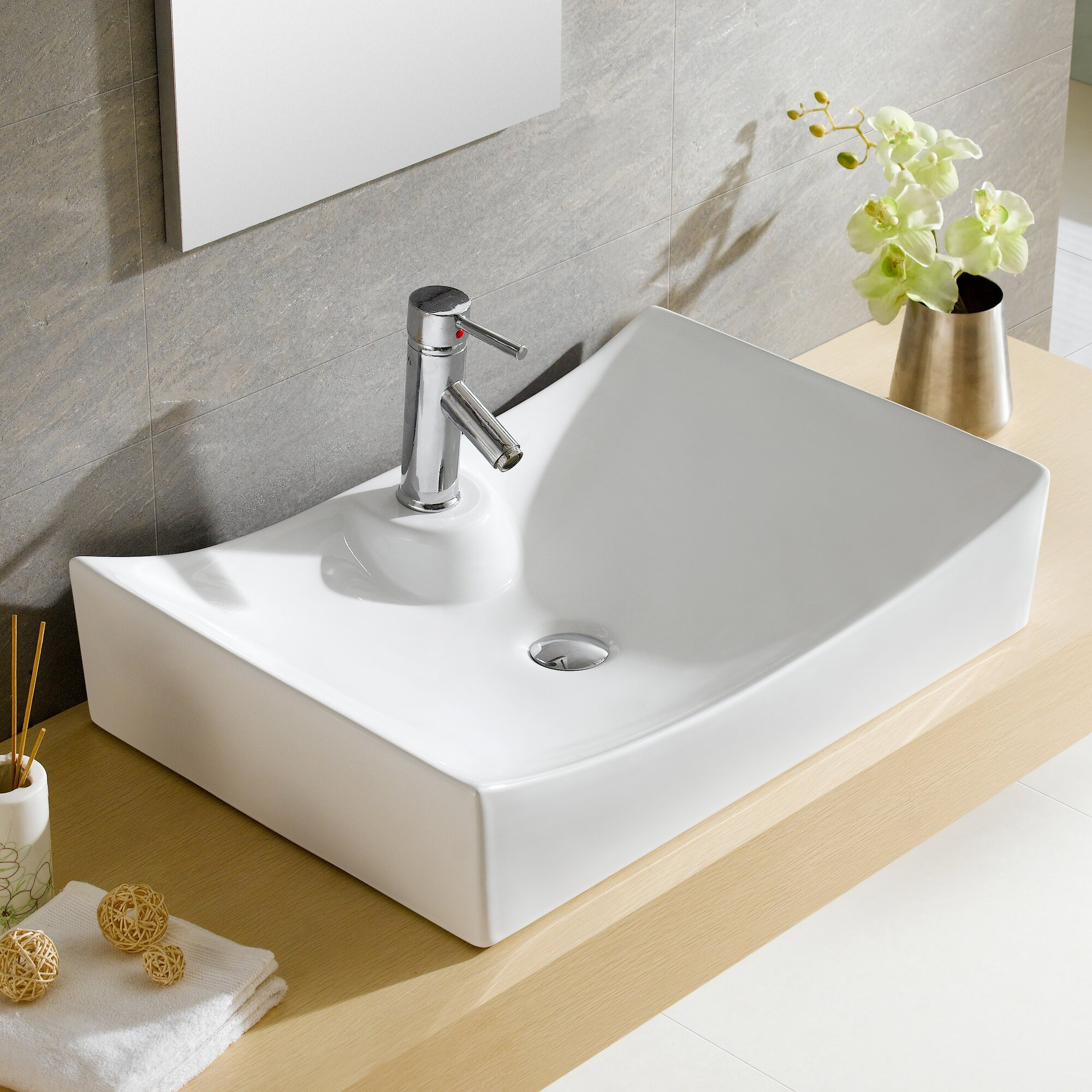 Fine Fixtures Modern Vitreous Bulging Square Vessel Bathroom Sink