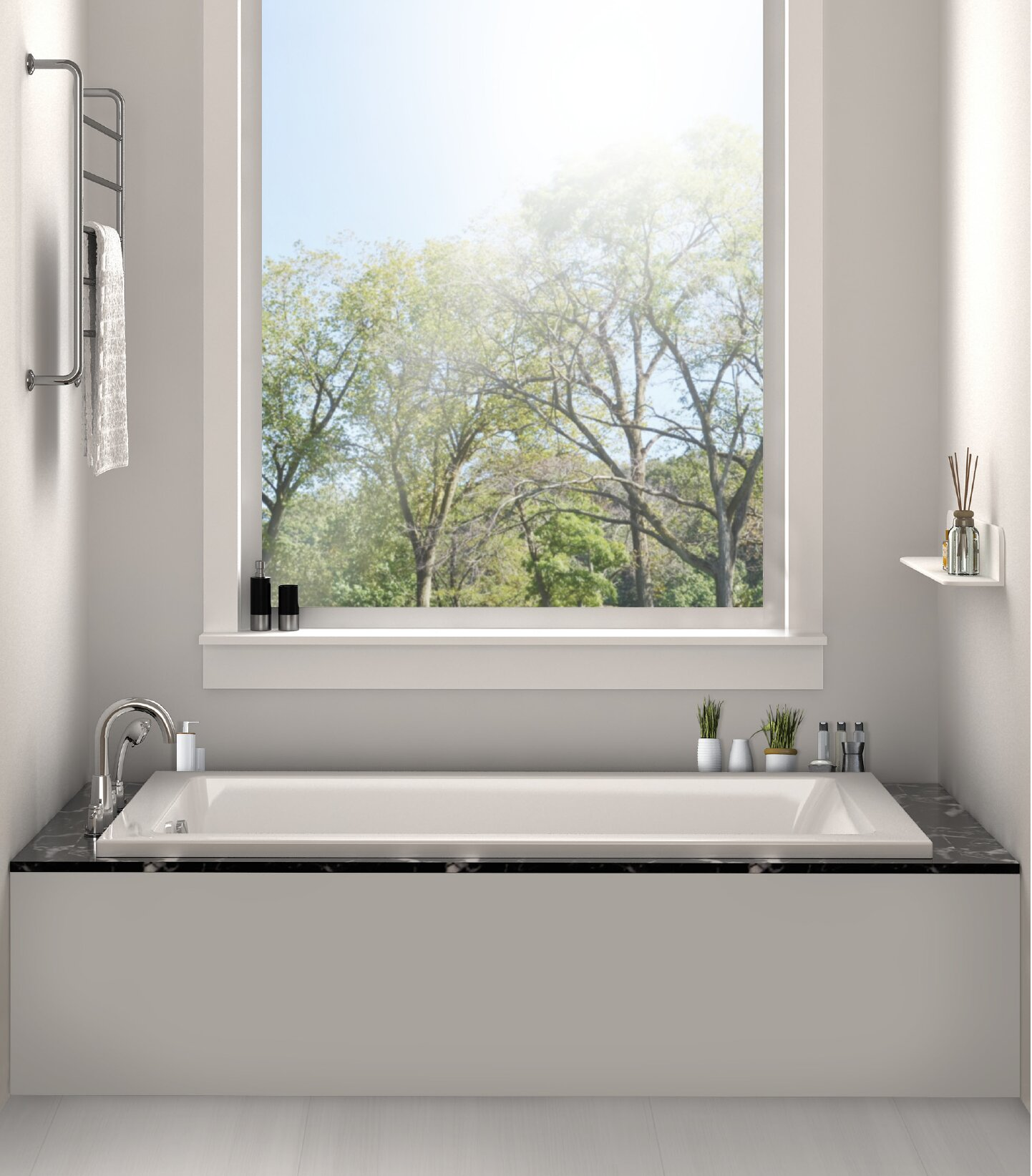 Fine fixtures drop in or alcove 30 x 60 soaking bathtub for Drop in tub sizes