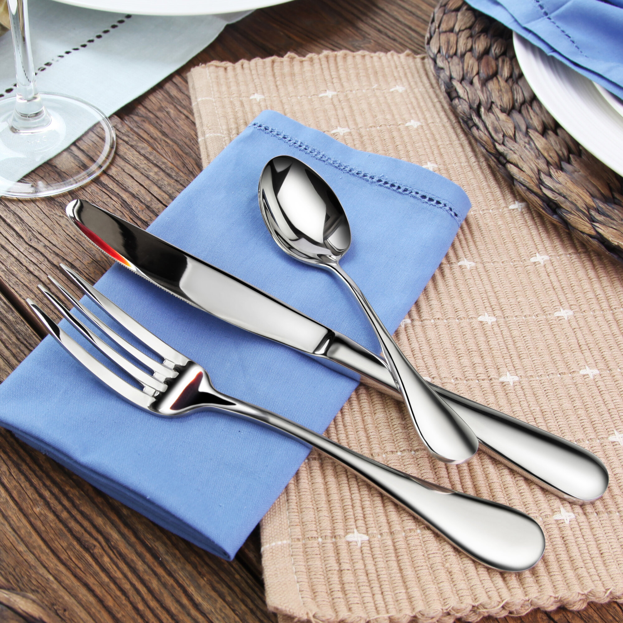 artaste rain 36 piece 18 10 stainless steel flatware set ebay. Black Bedroom Furniture Sets. Home Design Ideas