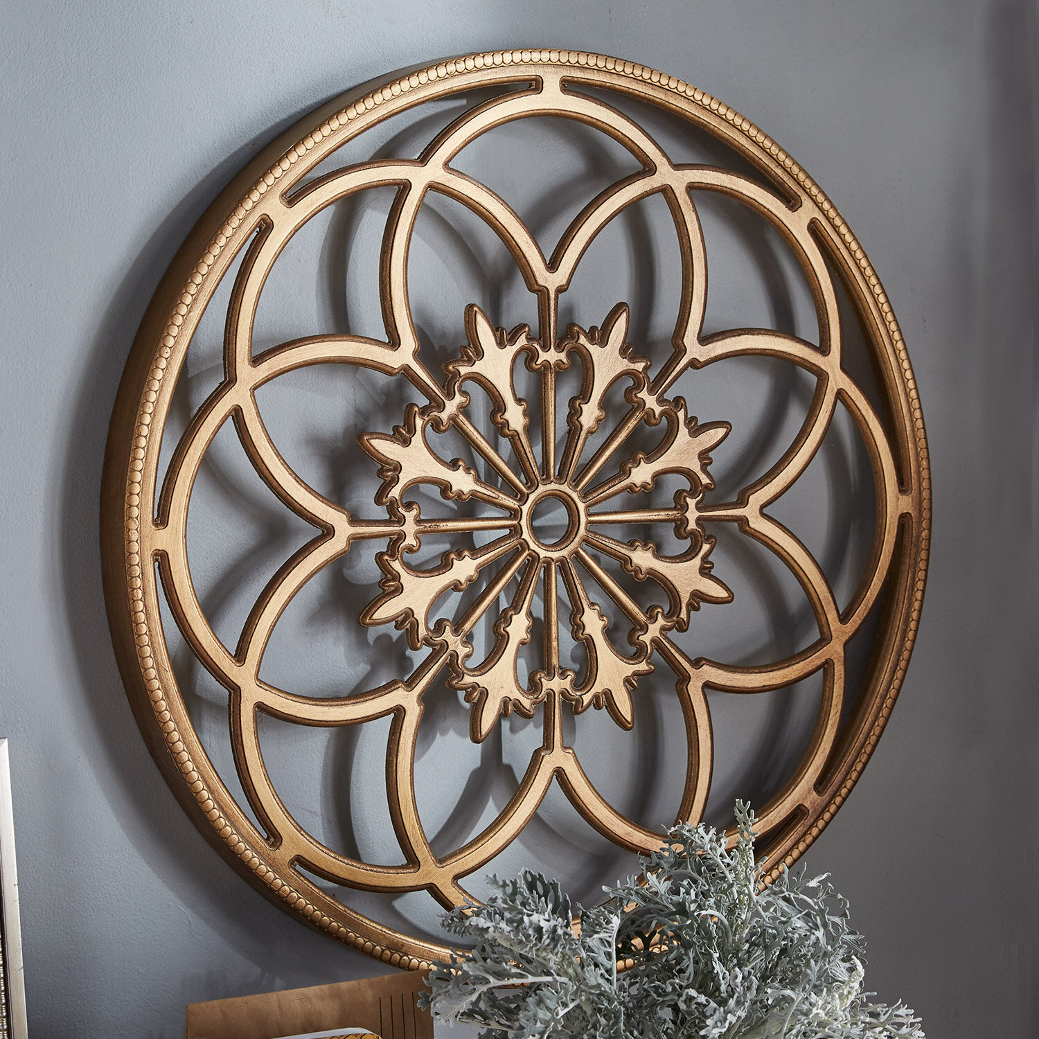 Wood Circle Wall Art ~ Kate and laurel ondelette round medallion