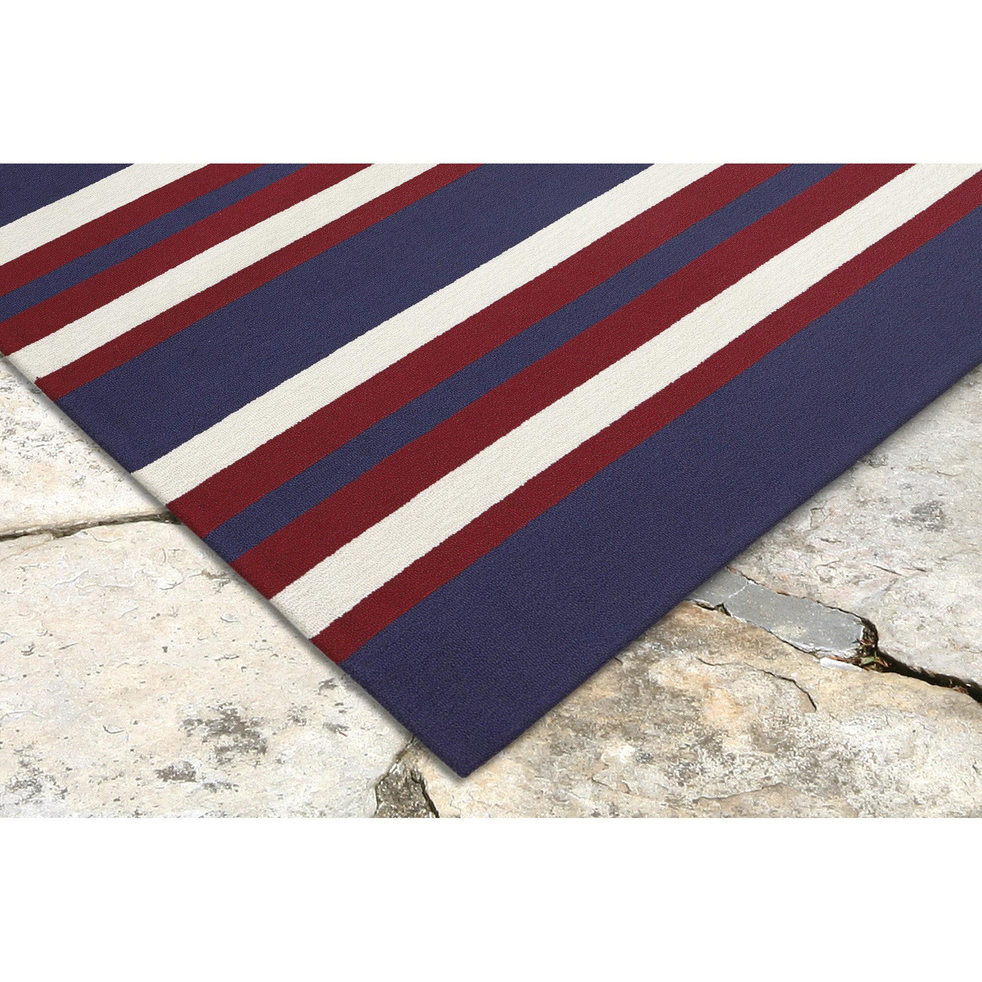 Nautical Patio Rug: Breakwater Bay Cranford Nautical Stripe Hand-Tufted Red