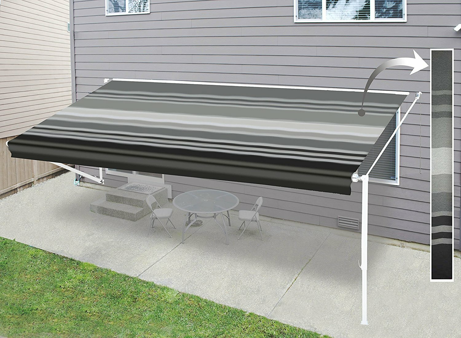 Aleko Retractable RV Home Patio 12ft. W X 8ft. D Awning