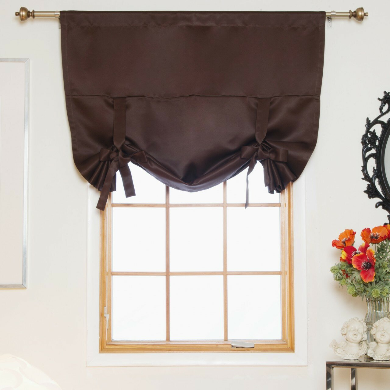 blackout curtain tie up room darkening single curtain valence ebay. Black Bedroom Furniture Sets. Home Design Ideas
