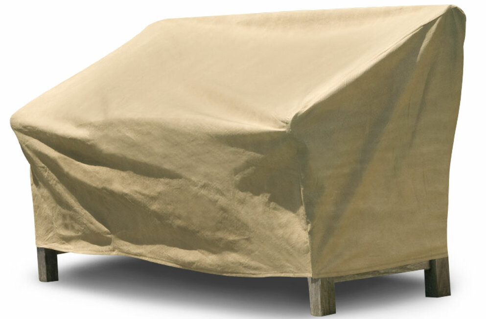 BudgeIndustries All-Seasons Outdoor Loveseat Cover Color: Tan, Size: 37