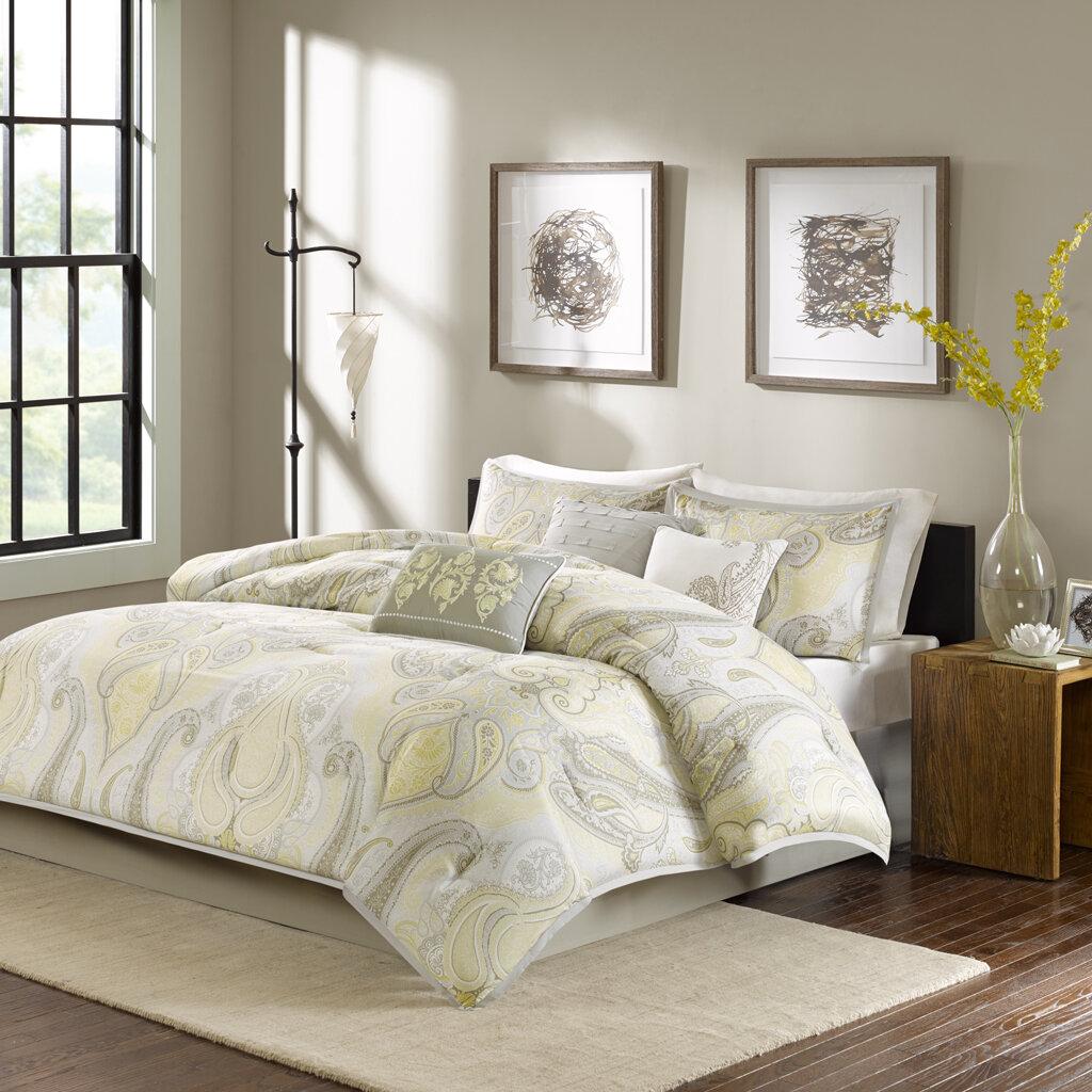 Madison Park Samir 7 Piece Comforter Set Color: Yellow, Size: Queen