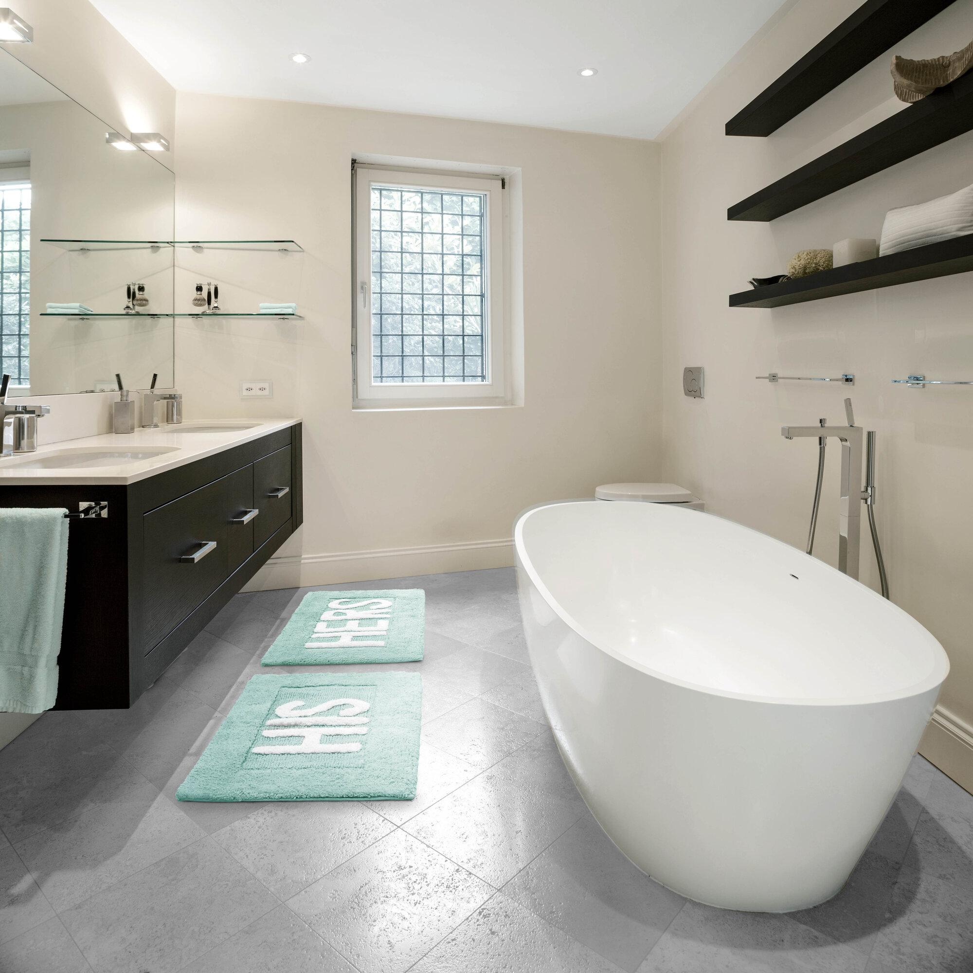 Modern Indoor Bath Rug Set Machine Washable Cotton Rectangle Shape ...