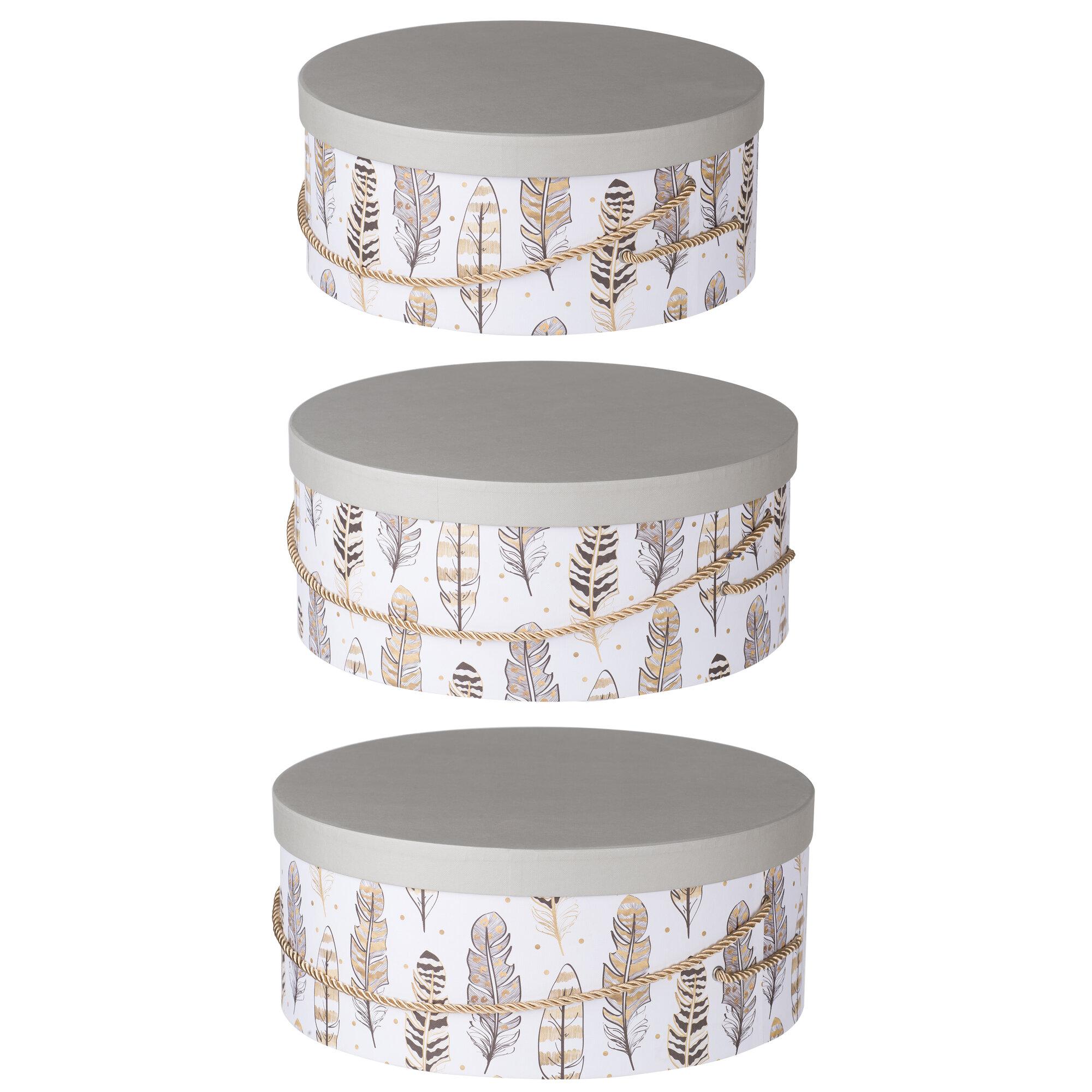 Decorative Hat Boxes Uk : Bay isle home round hat paper piece box set
