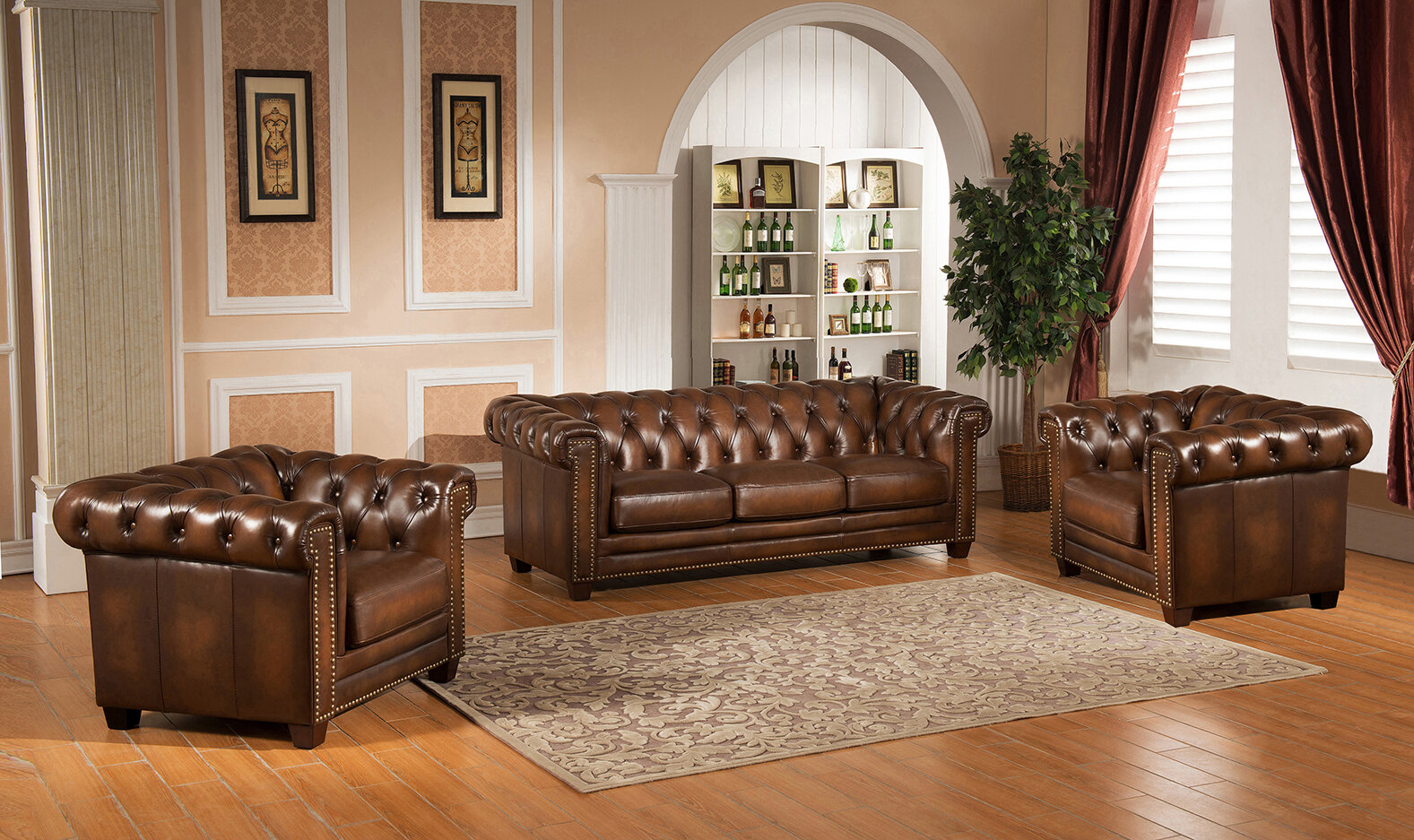 3 Piece Living Room Sofa Set: Hickory Chesterfield Genuine Leather 3 Piece Leather