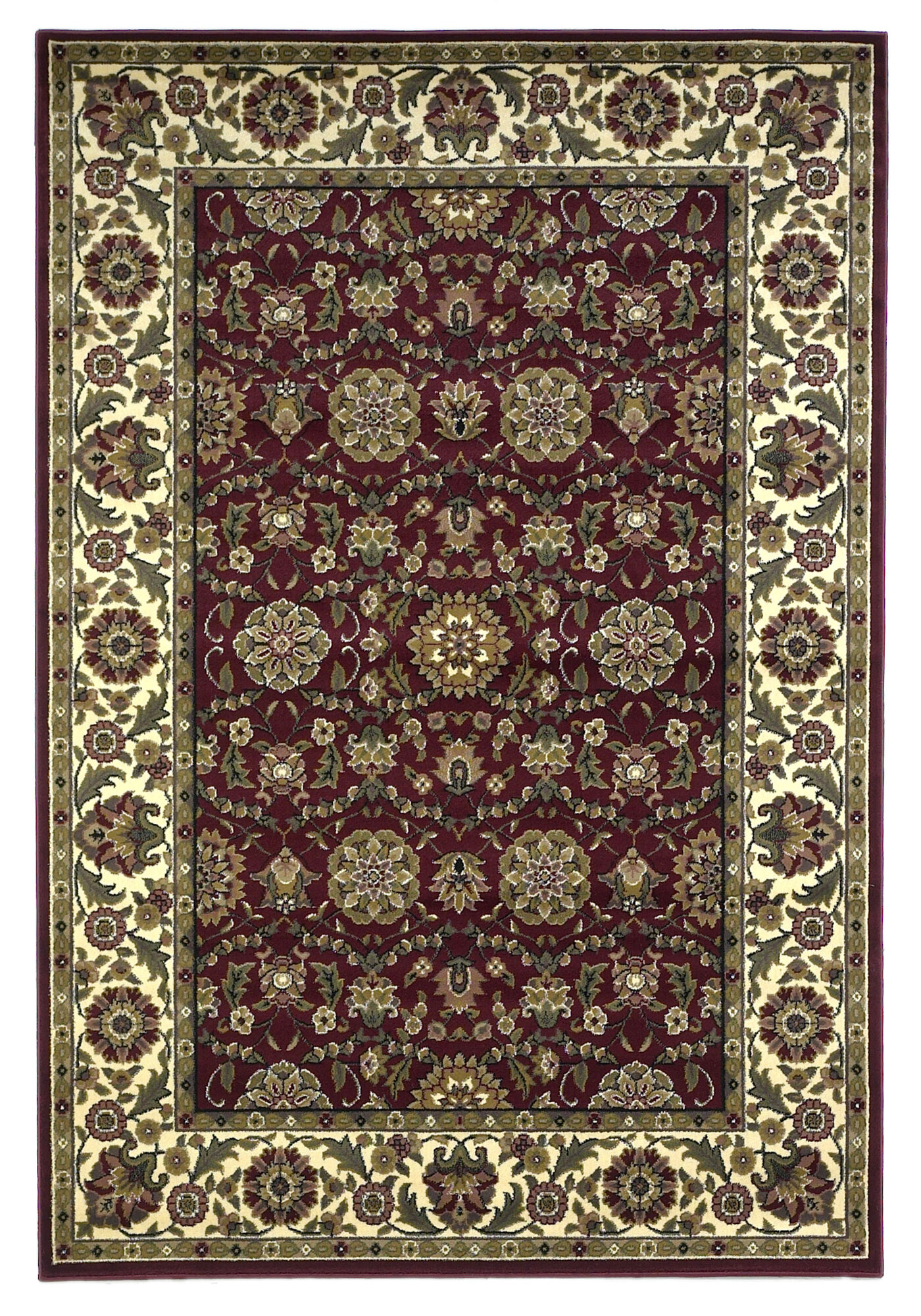 Kas rugs cambridge red cream floral area rug ebay for Cream and red rugs