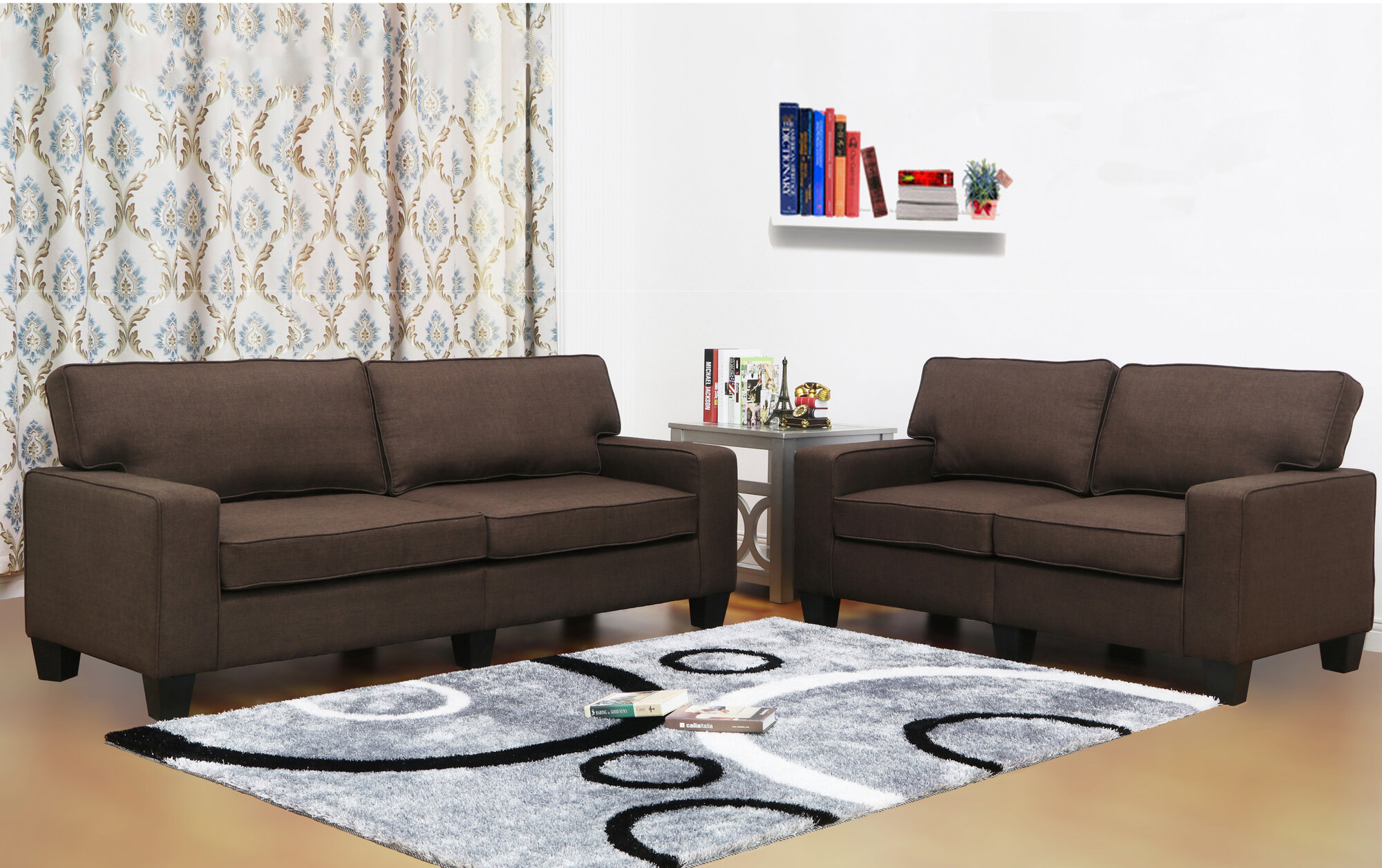 Living in style jordan linen 2 piece modern living room for Jordan linen modern living room sofa
